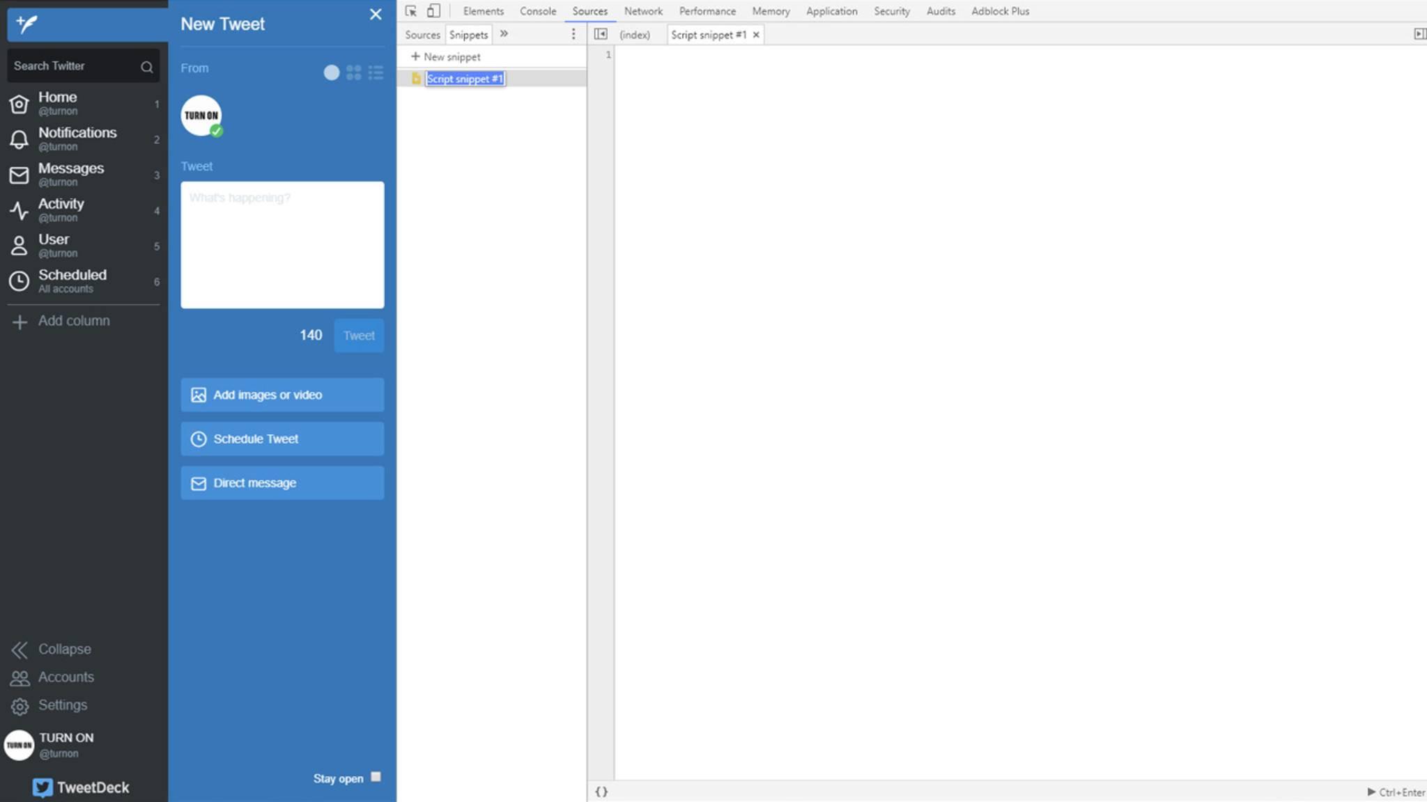 Erstelle ein neues Snippet und kopiere den oben verlinkten Code hinein. Führe ihn über den Button unten rechts aus.