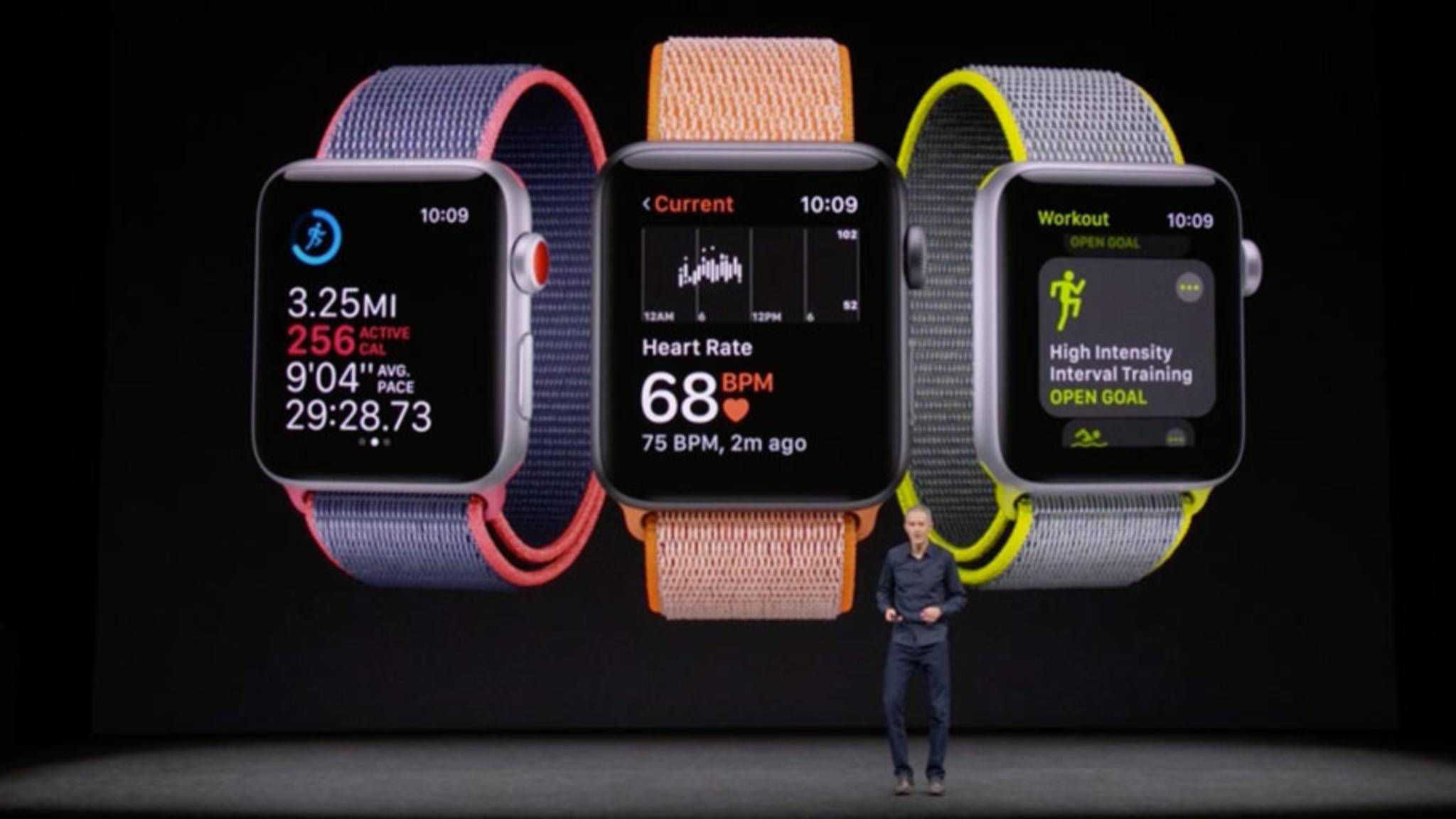 Optisch unterscheidet sich die Apple Watch 3 so gut wie nicht vom Vorgängermodell, glänzt aber mit einigen neuen (Fitness-) Funktionen.
