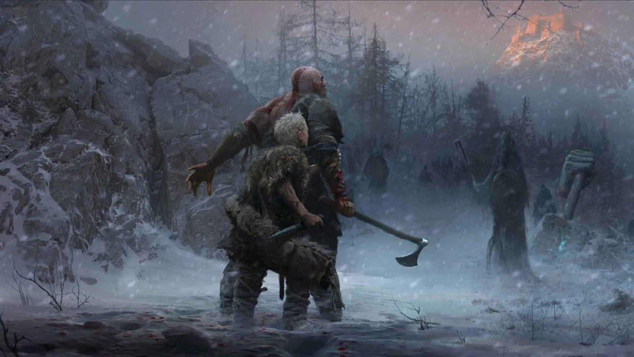 Kratos und sein Sohn ziehen durch eine nordische Welt, die ...