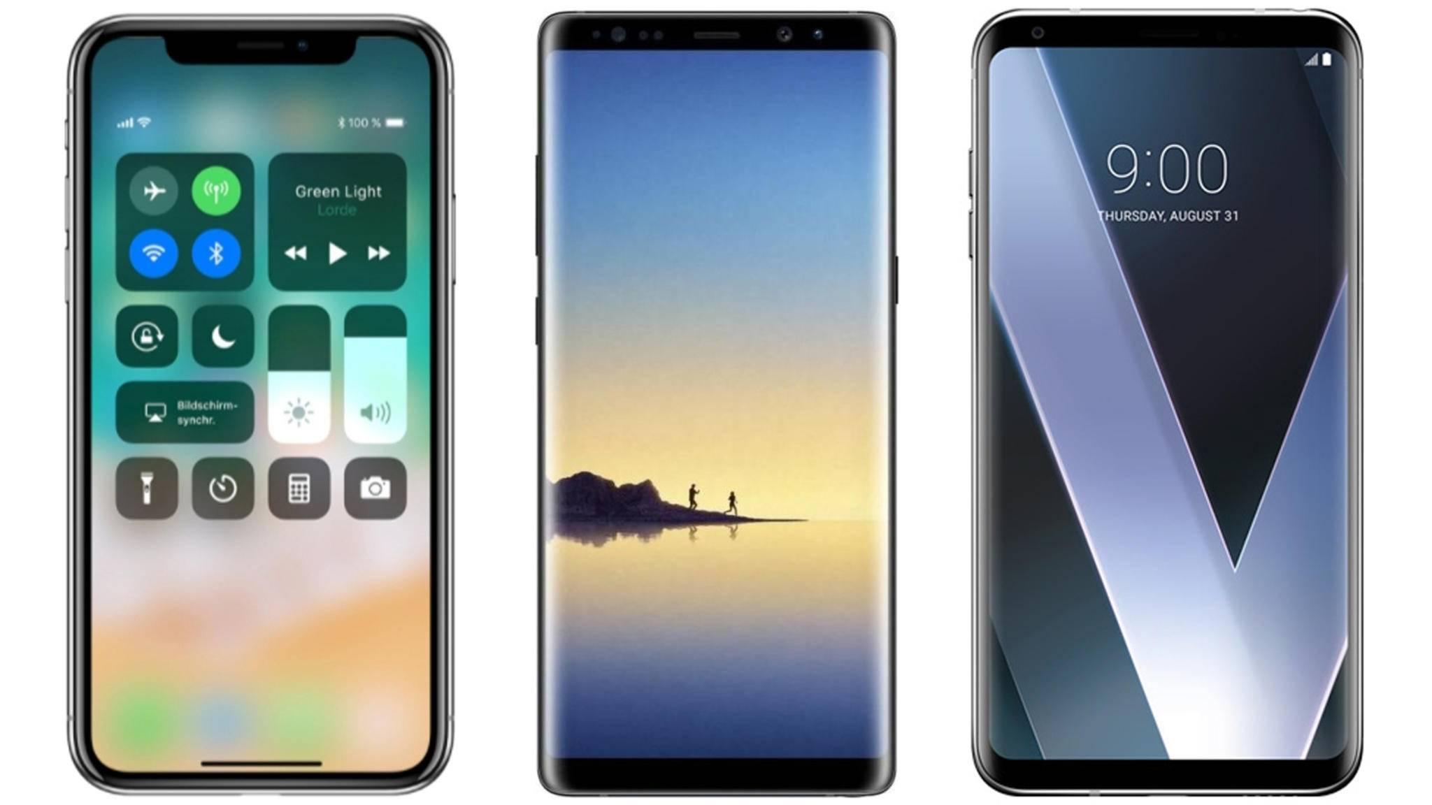 Wie schlagen sich die drei High-End-Smartphones iPhone X, Galaxy Note 8 und LG V30 im Vergleich?