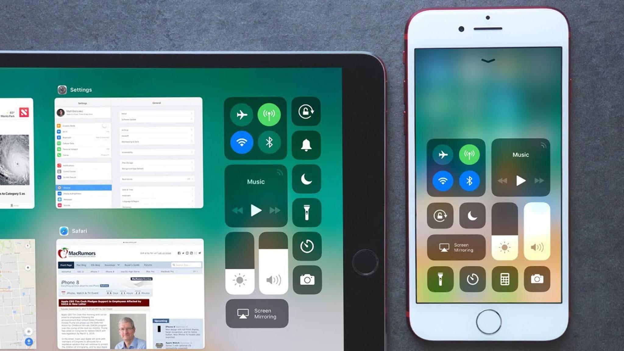 Bietet nicht nur eine gewöhnungsbedürftige neue Optik, sondern auch neue Funktionen: das iOS-11-Kontrollzentrum.