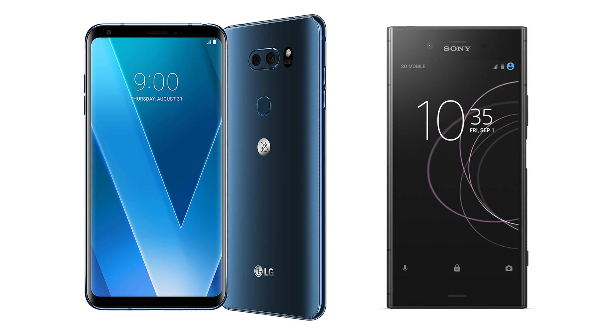 Die beiden Smartphone-Highlights treten im Vergleich gegeneinander an: Das LG V30 gegen das Sony Xperia XZ1.