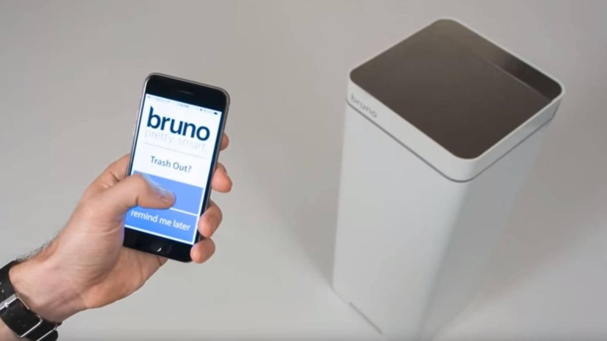 Für Vergessliche: Via App erinnert der smarte Mülleimer Bruno an die regelmäßige Leerung seines Behälters.