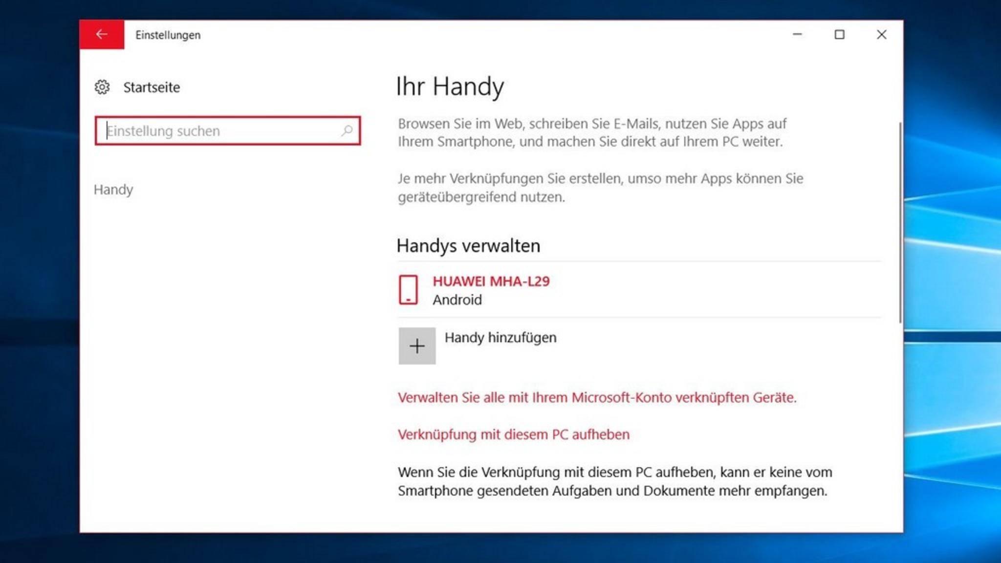 Nach dem Verknüpfen sollte das Smartphone unter Windows 10 angezeigt werden.