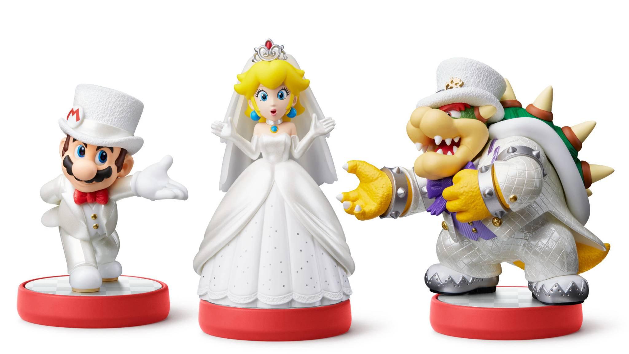 """Die drei Hochzeits-Amiibos, die zum Release von """"Super Mario Odyssey"""" erschienen sind, geben Dir hilfreiche Boni im Spiel. Aber auch alle anderen Amiibos kannst Du nutzen."""