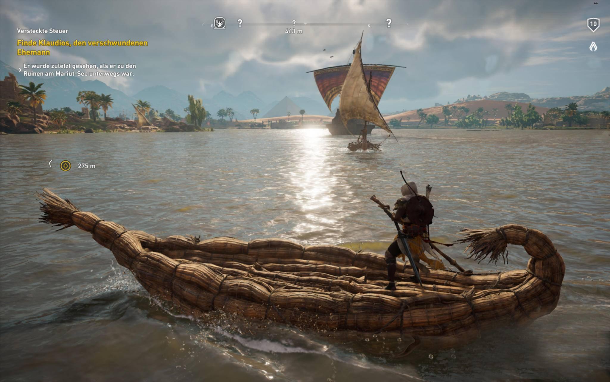 Bayek fährt Boot auf toll aussehendem Wasser ...