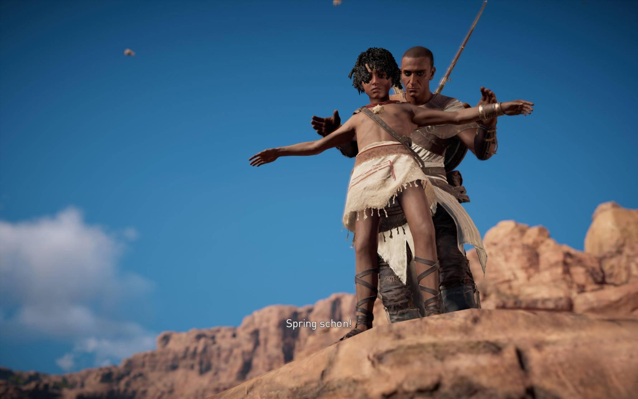 ... und mit seinem Sohn Khemu auf einer Klippe. Ein anderer guter Freund ist ...