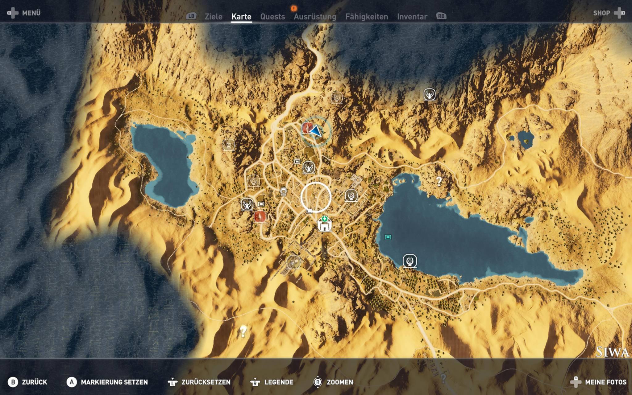 Die Schätze sind auf der Karte markiert.