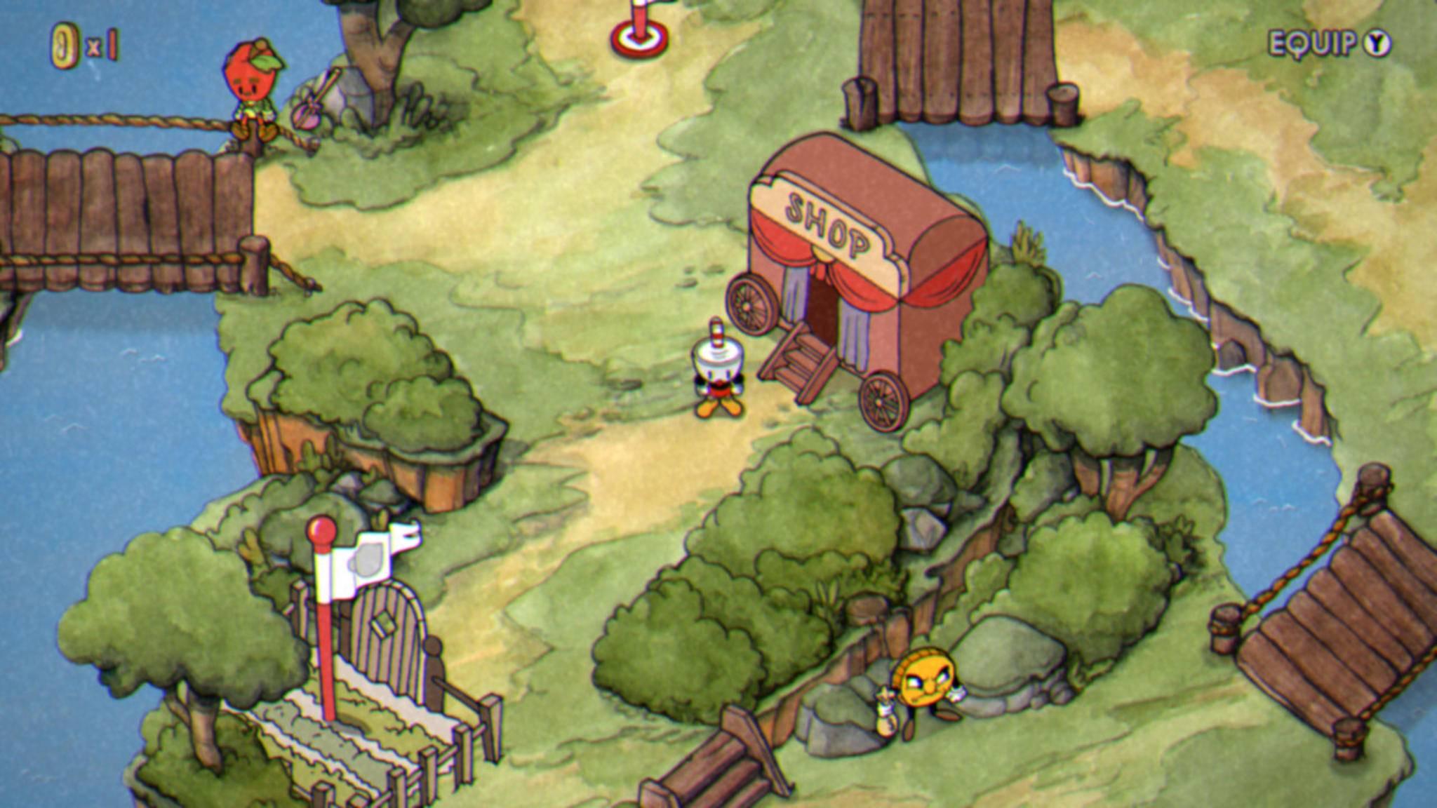 Der NPC oben links schenkt Dir zu Beginn des Spiels drei Münzen, wenn Du ihn ansprichst. Im Shop kannst Du sie gleich investieren.