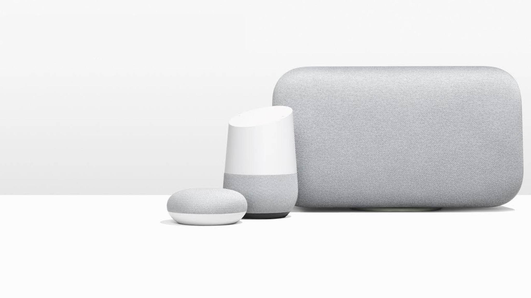 Der Google Home Max (rechts) ist einer der größten Smart-Speaker.
