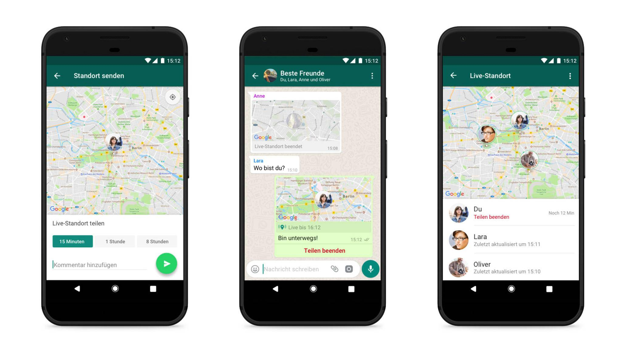 In WhatsApp kannst Du seit Herbst 2017 auch Deinen Live-Standort teilen.