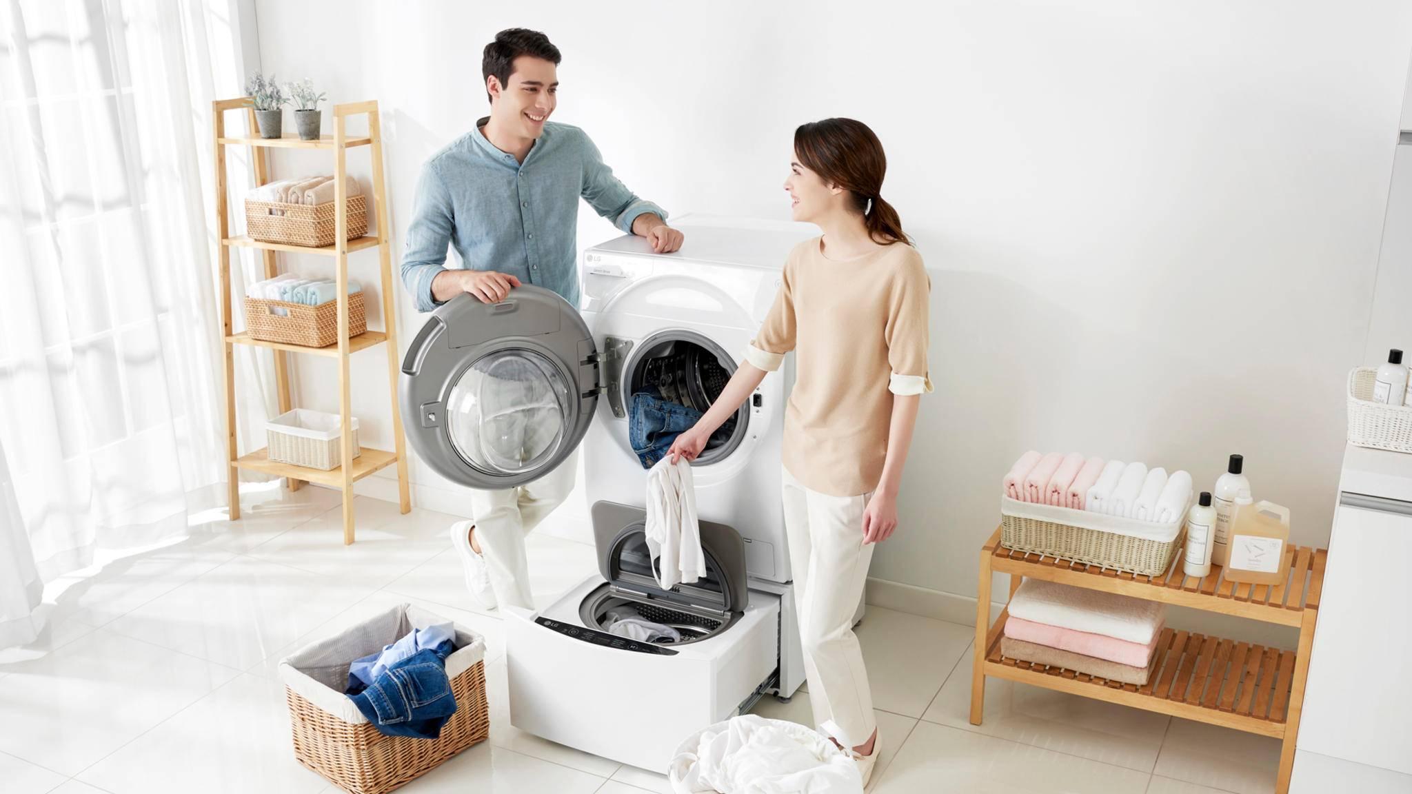 Zwei Wäscheladungen gleichzeitig waschen? Mit der TwinWash von LG kein Problem!