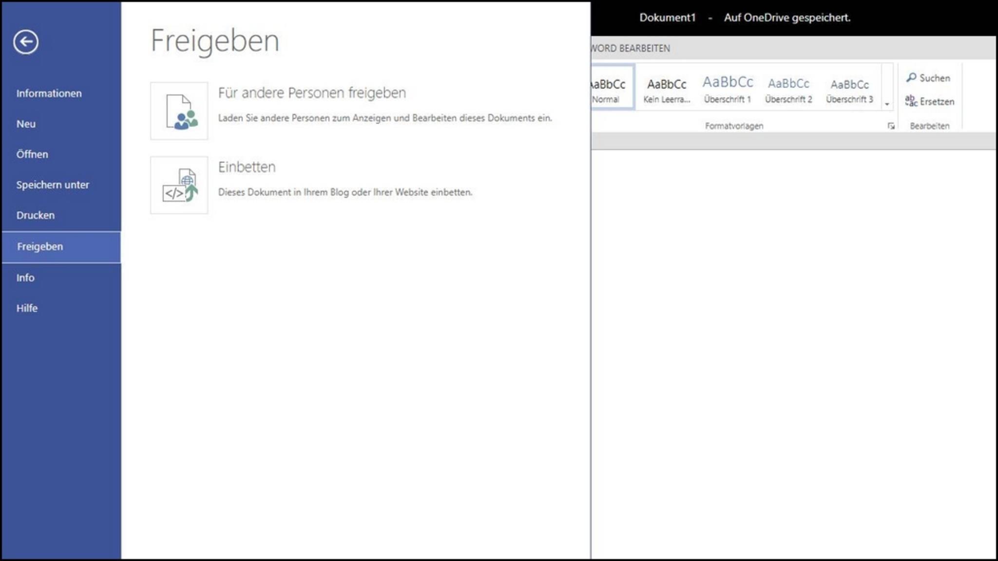 """Über """"Datei > Freigeben"""" kannst Du One_Drive-Dokumente mit anderen Nutzern teilen."""