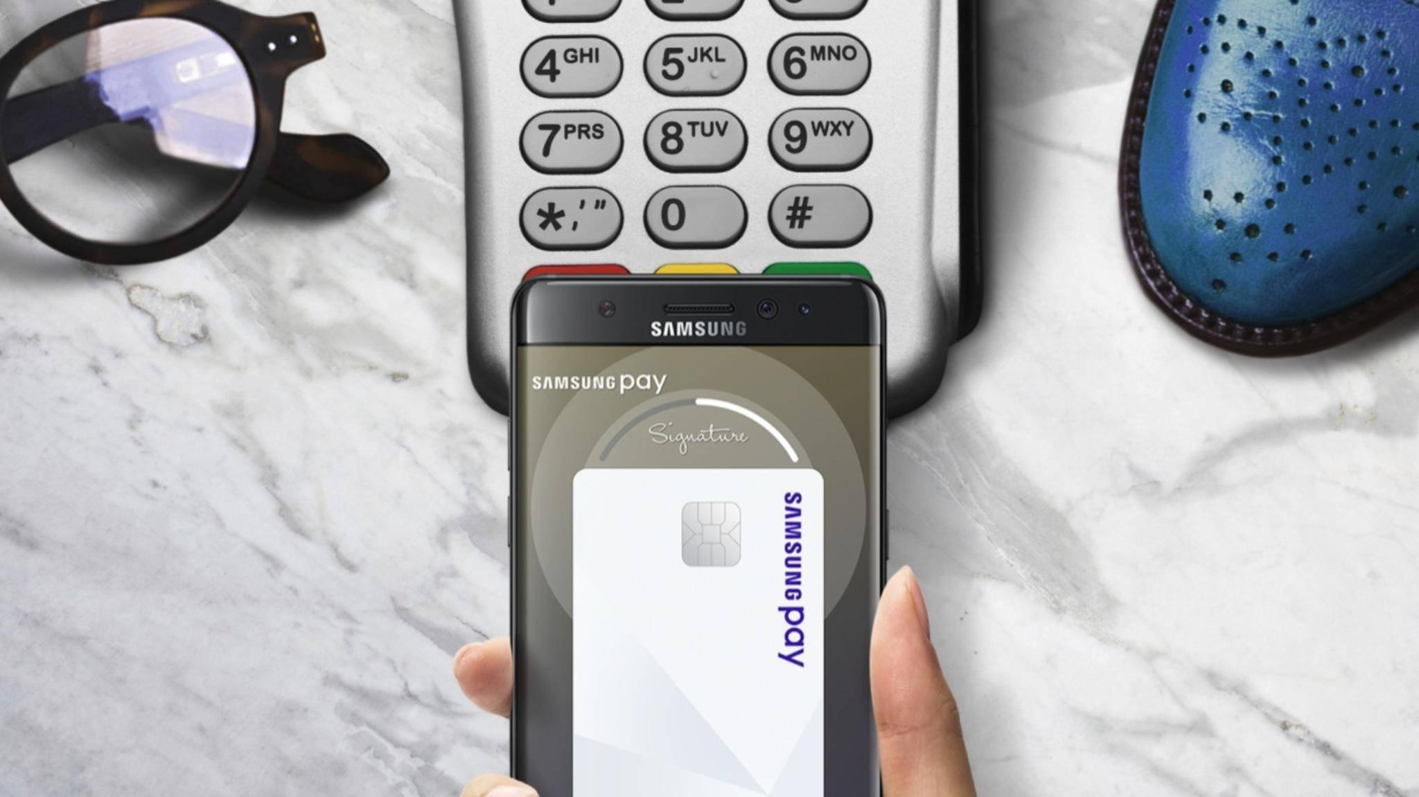 Samsung Pay funktioniert überall dort, wo Du auch mit Bank- oder Kreditkarte bezahlen kannst.