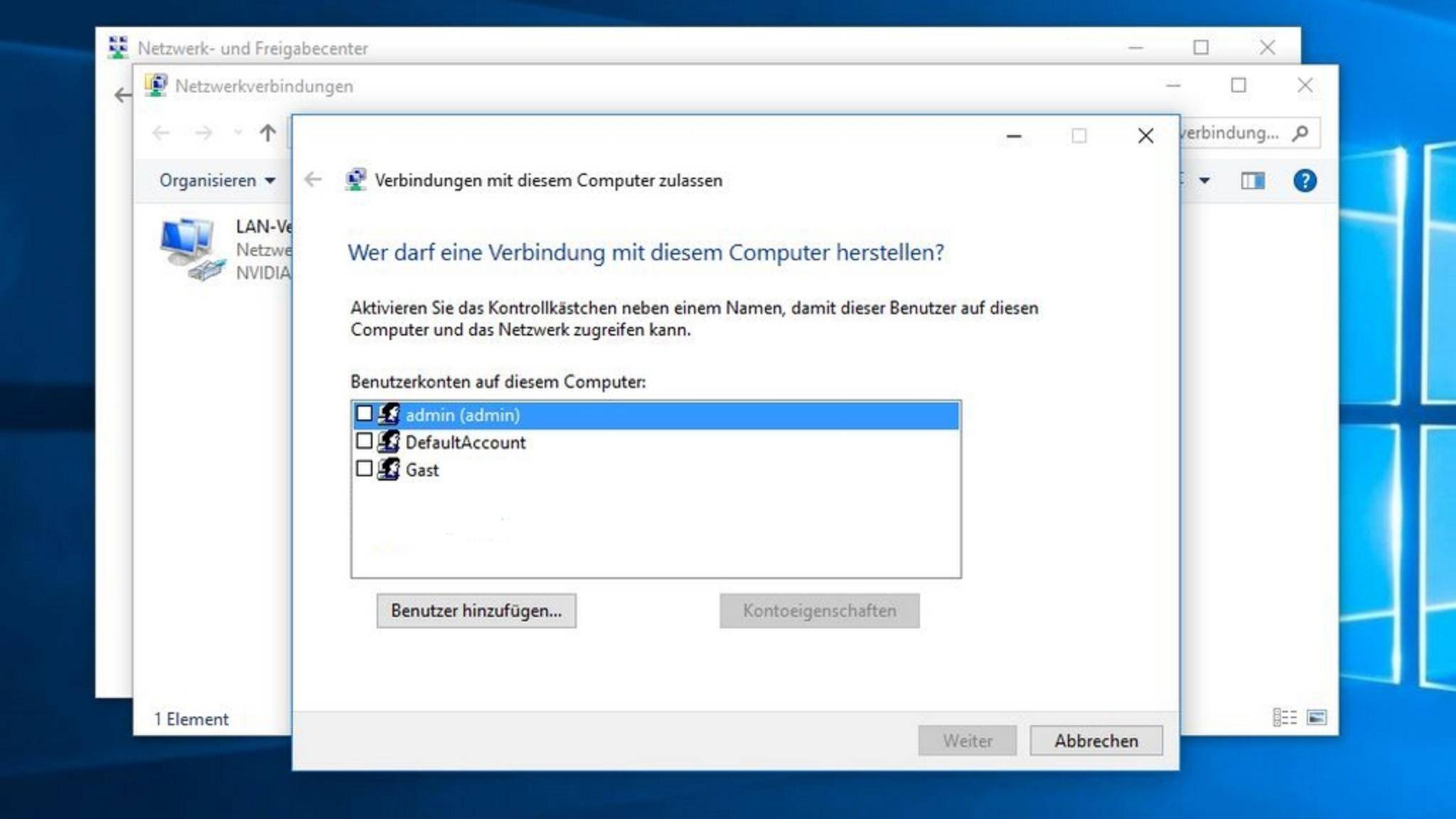 """Über """"Datei > Neue eingehende Verbindung"""" kannst Du die Parameter für den VPN-Server festlegen."""