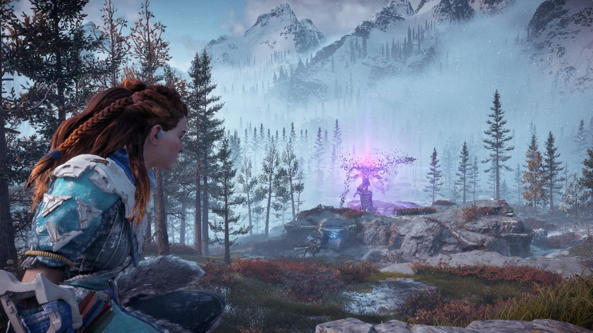 """Auch im DLC """"The Frozen Wilds"""" kann sich Aloy wieder als Schatzsucherin betätigen."""
