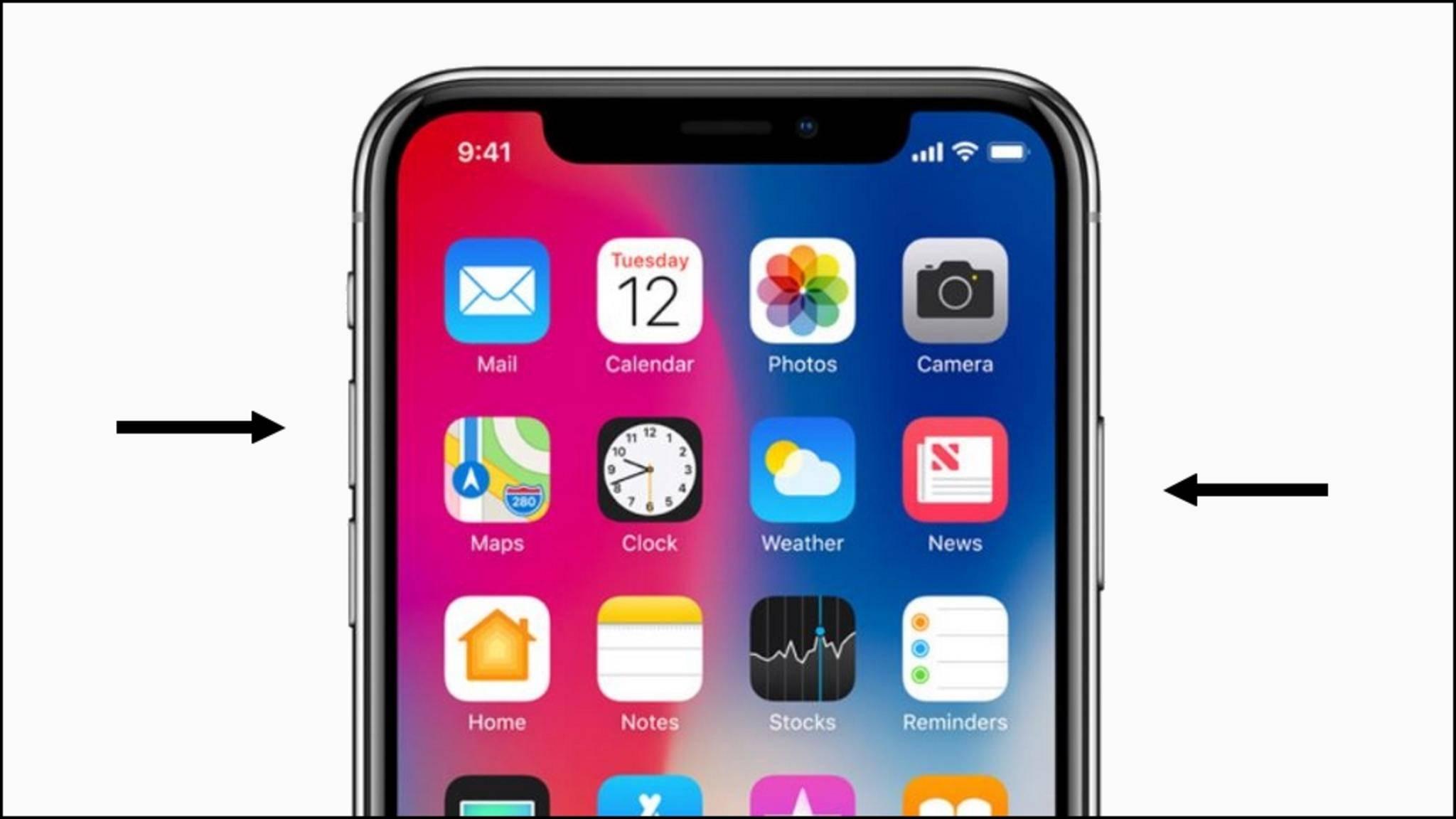 """Durch gleichzeitiges Tippen von """"Lautstärker lauter"""" und """"Seitentaste"""" erstellt das iPhone X einen Screenshot."""
