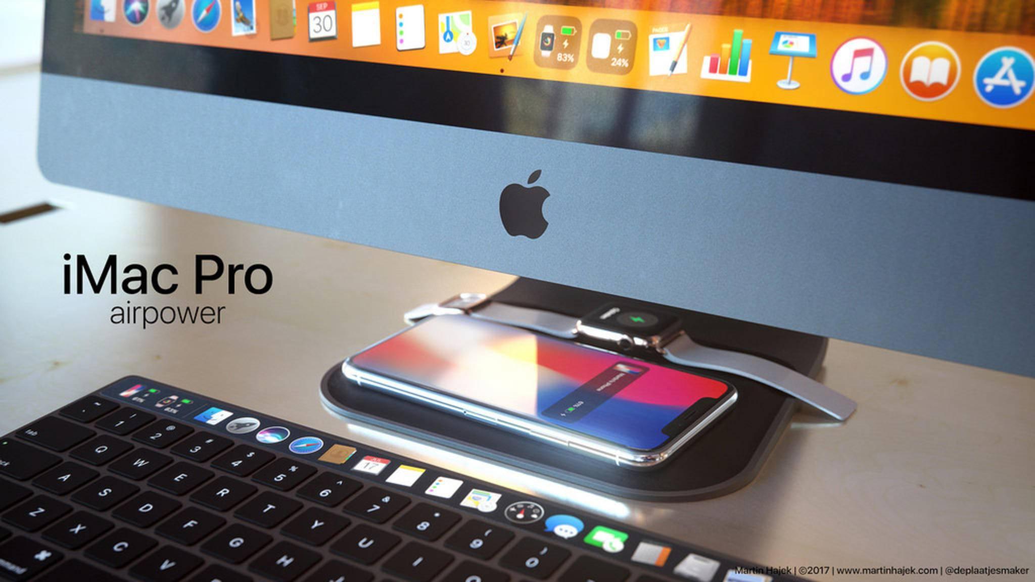 iMac Pro mit AirPower: So einfach könnte das iPhone X auf dem Standfuß geladen werden.