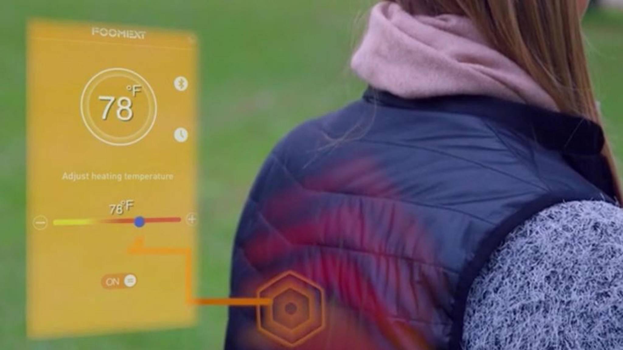 Die beheizbare Weste nimmt die Temperatur an, die zuvor per Smartphone ausgewählt wurde.