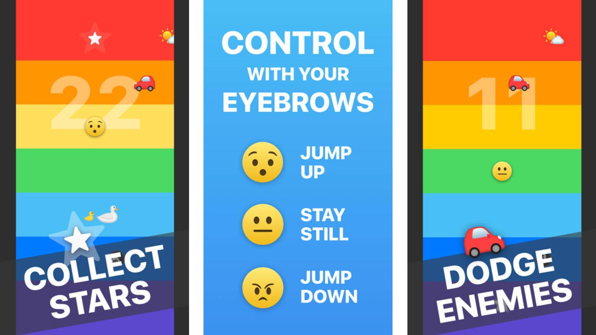 """""""Rainbrow"""" ist eine Art """"Frogger"""", das mit den Augenbrauen gesteuert wird."""