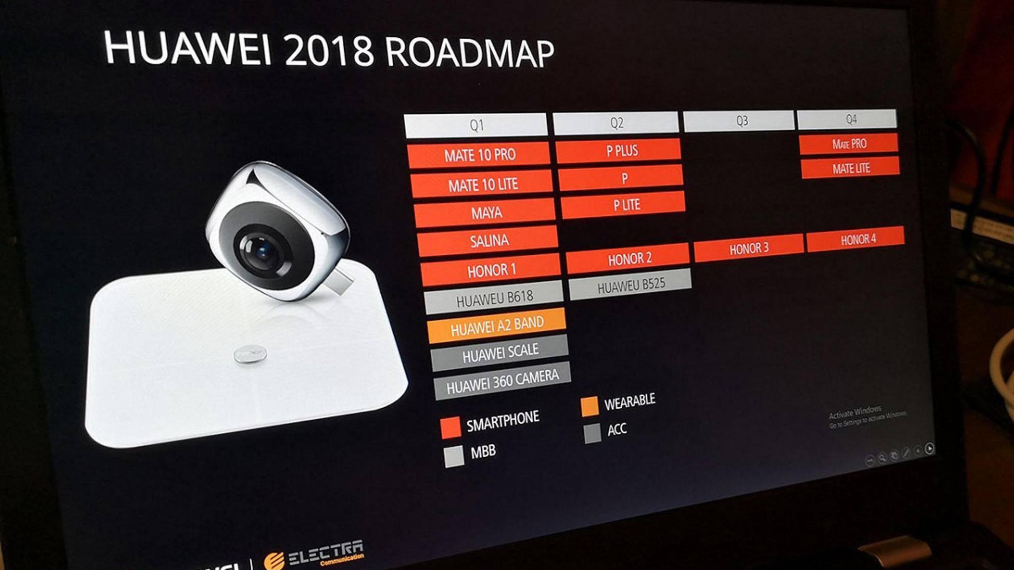 Die angebliche Roadmap von Huawei verspricht das P11, P11 Pro und P11 Lite für das zweite Quartal 2018.