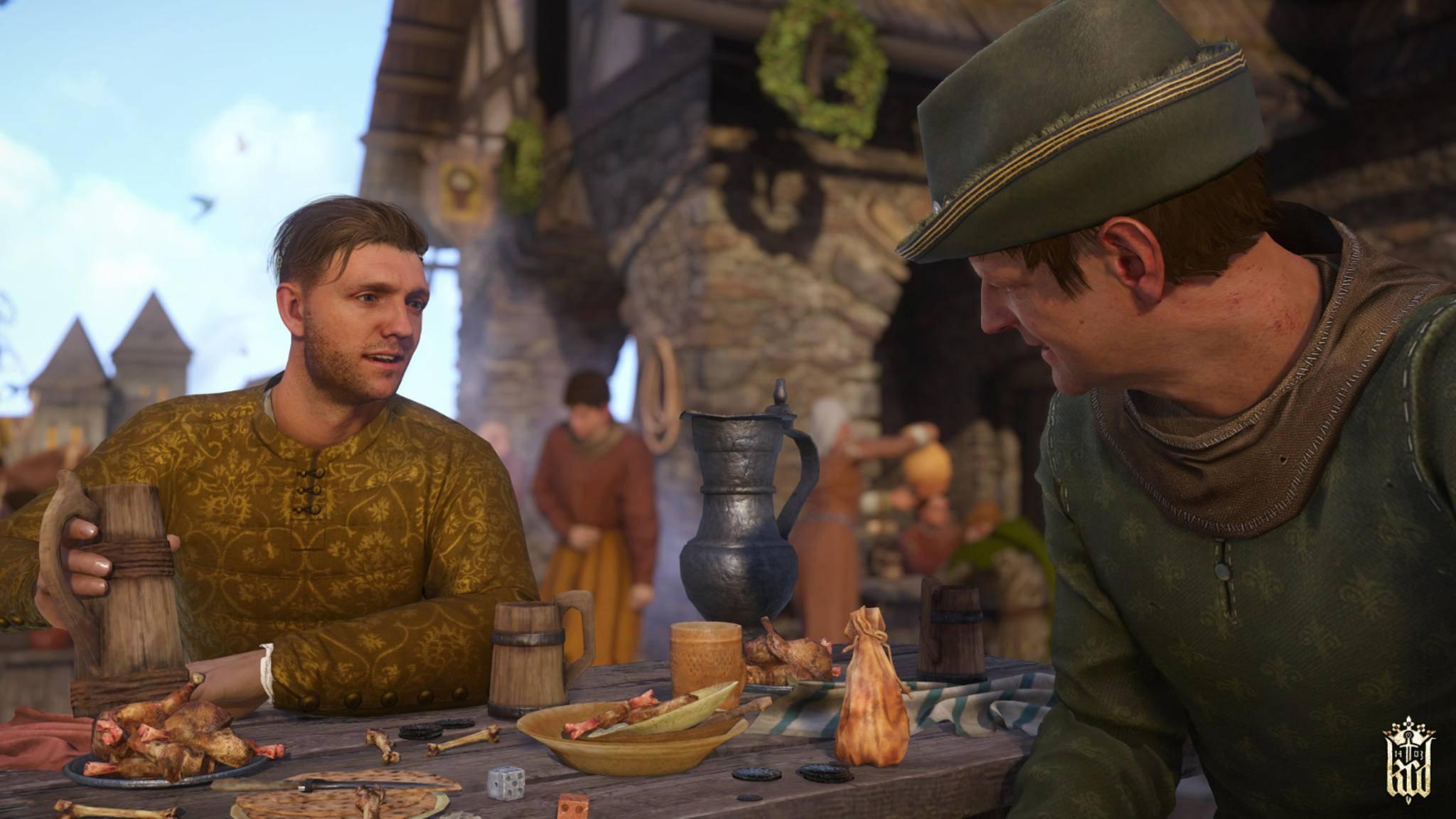 Zum Spielerlebnis gehört auch das Stadtleben im Mittelalter ...