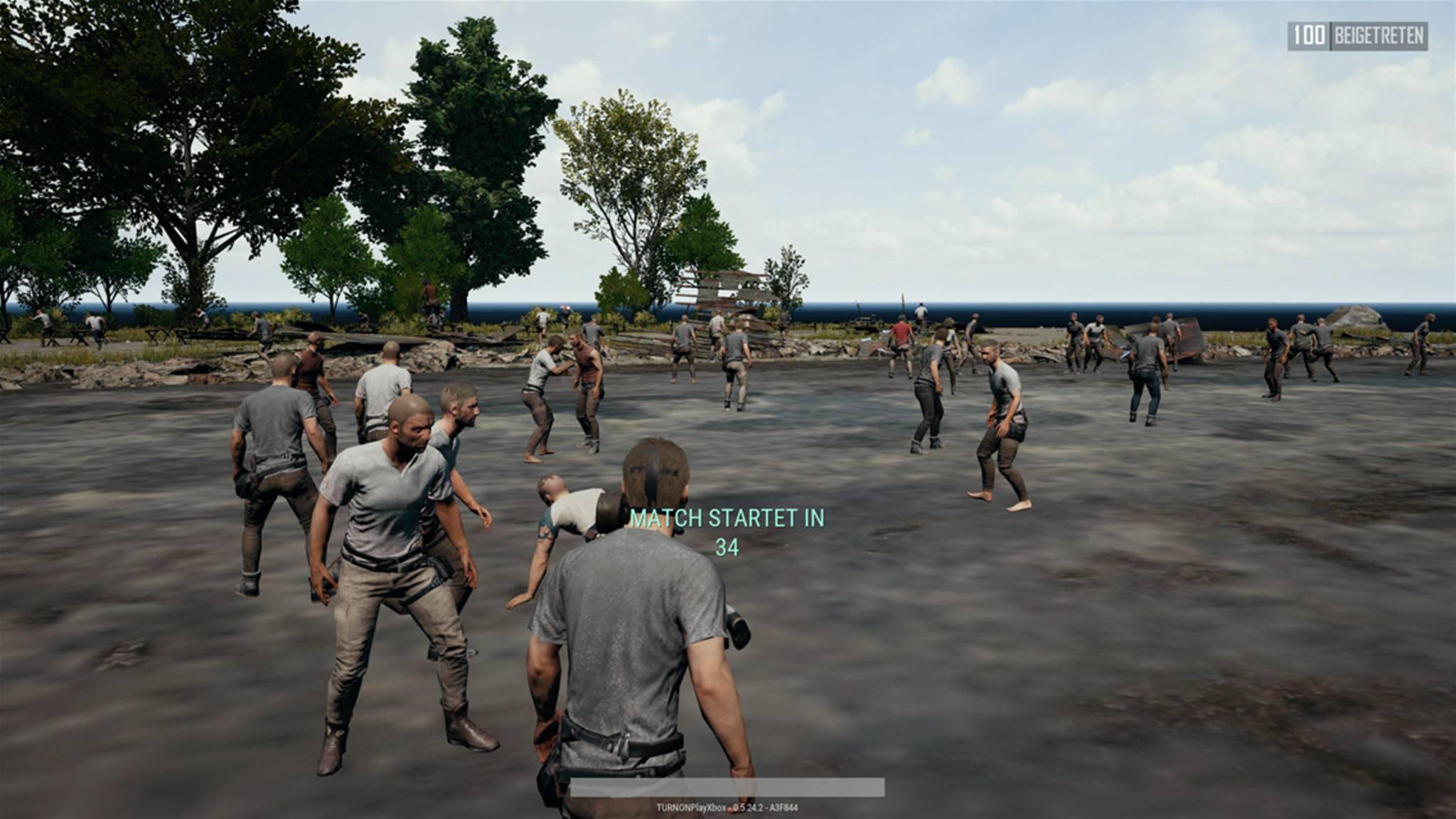 """Vor dem Start ins """"PUBG""""-Match warten alle 100 Spieler in der Lobby."""