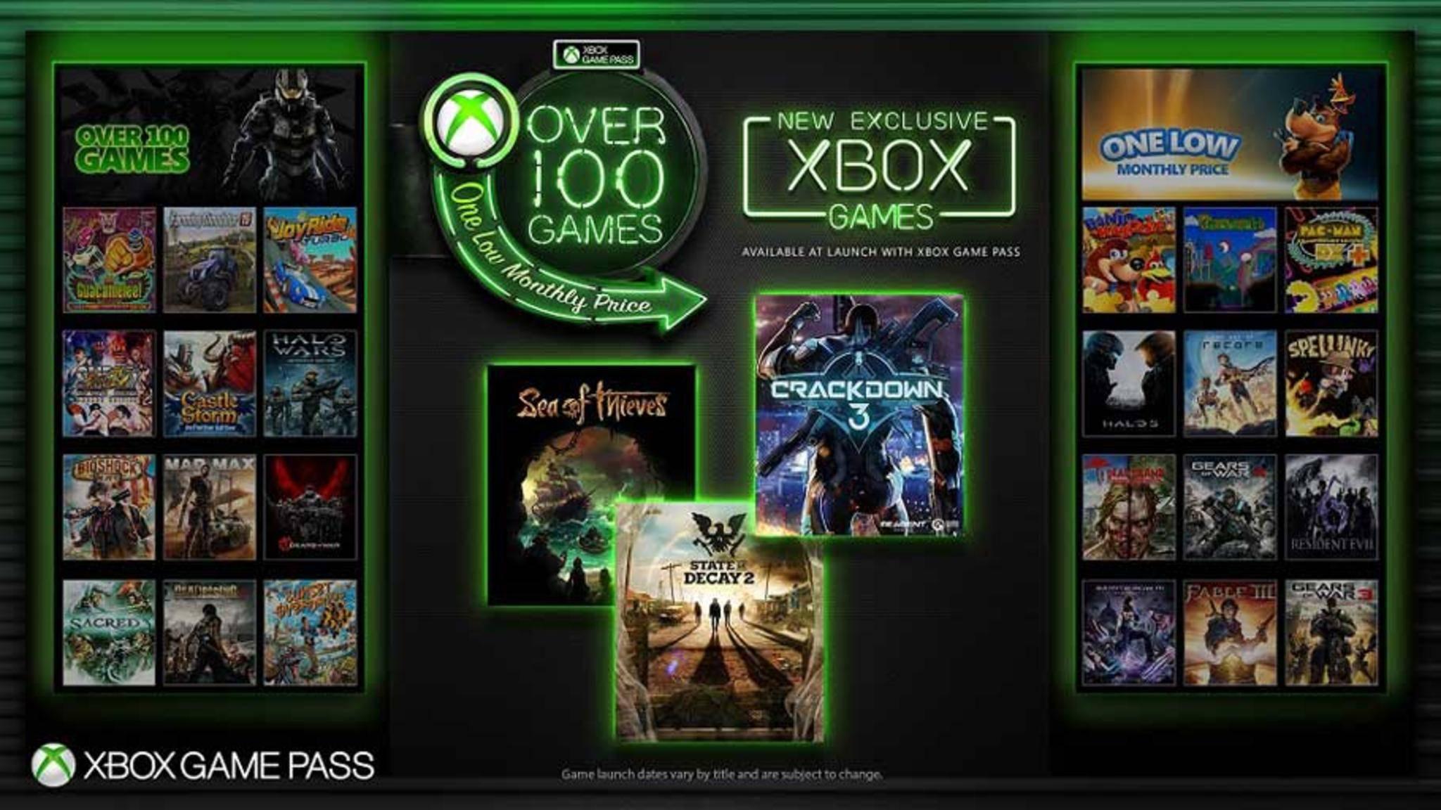 Xbox Game Pass: Zu über 100 Games aus dem bisherigen Katalog gesellen sich nun auch neue Exklusivspiele.