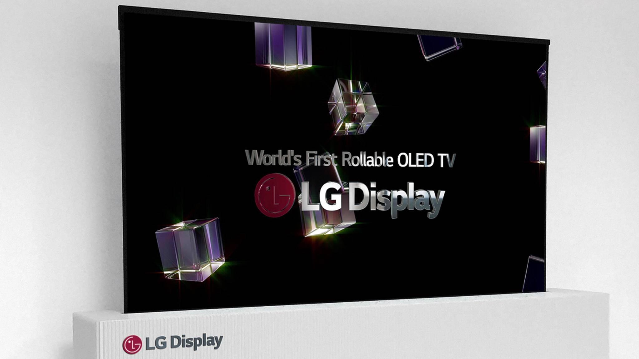 LGs aufrollbarer Fernseher lässt auch Knopfdruck in einer kleinen, weißen Box verstauen.