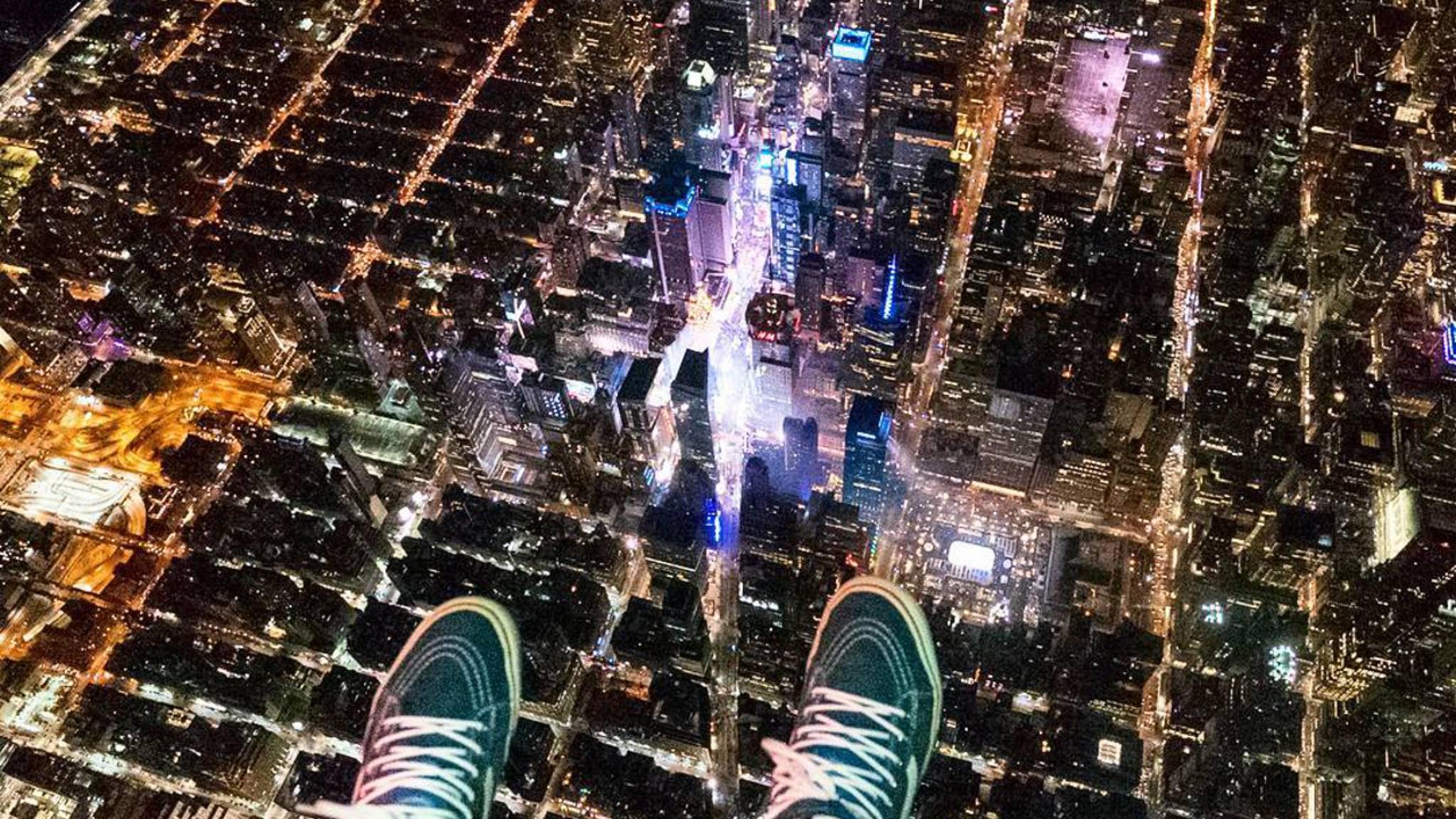 Die Luftaufnahmen entstanden bei der Silvesterfeier 2017 am Times Square.