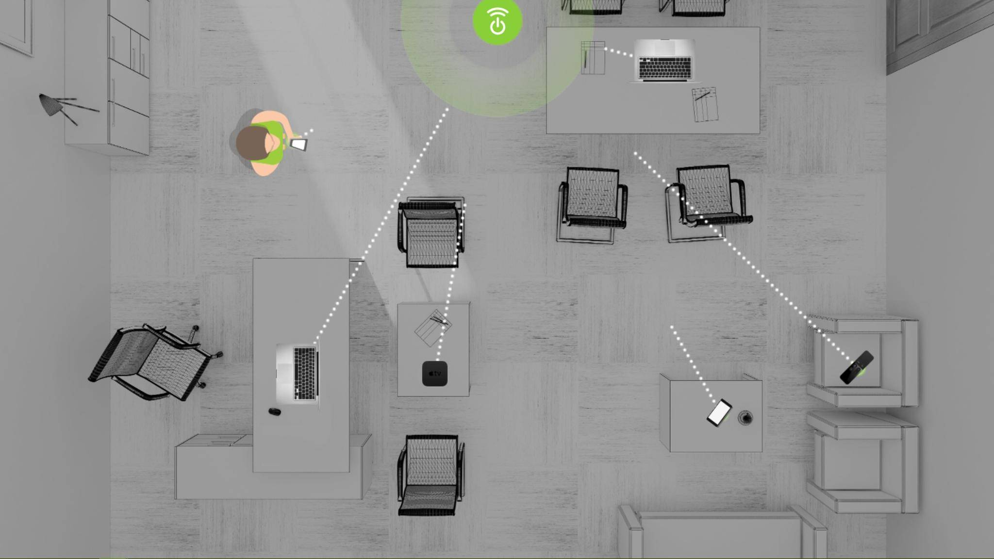 Ossia Cota lädt Geräte über größere Distanzen kabellos auf.