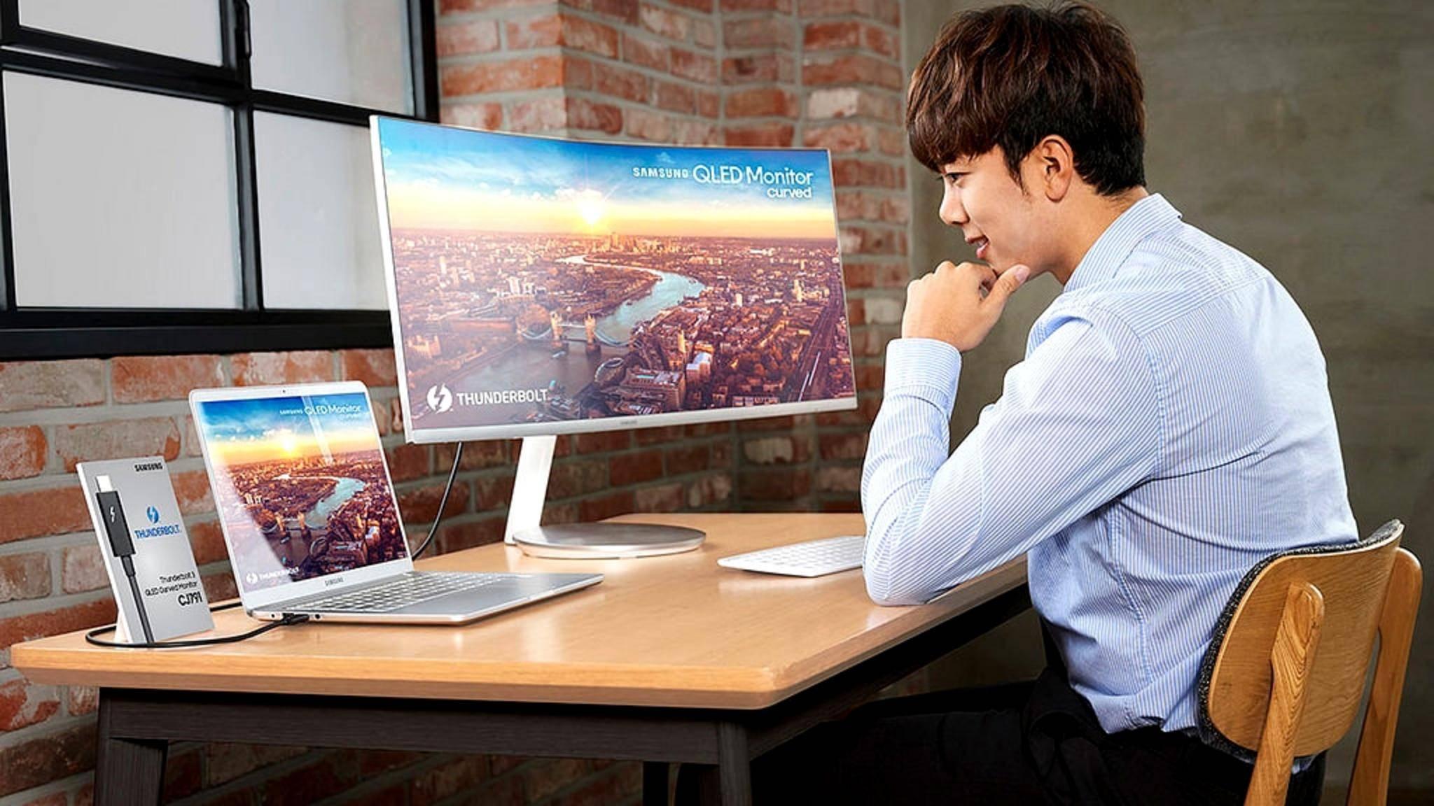 Der neue QLED-Monitor von Samsung verfügt über einen Thunderbolt-3-Anschluss.