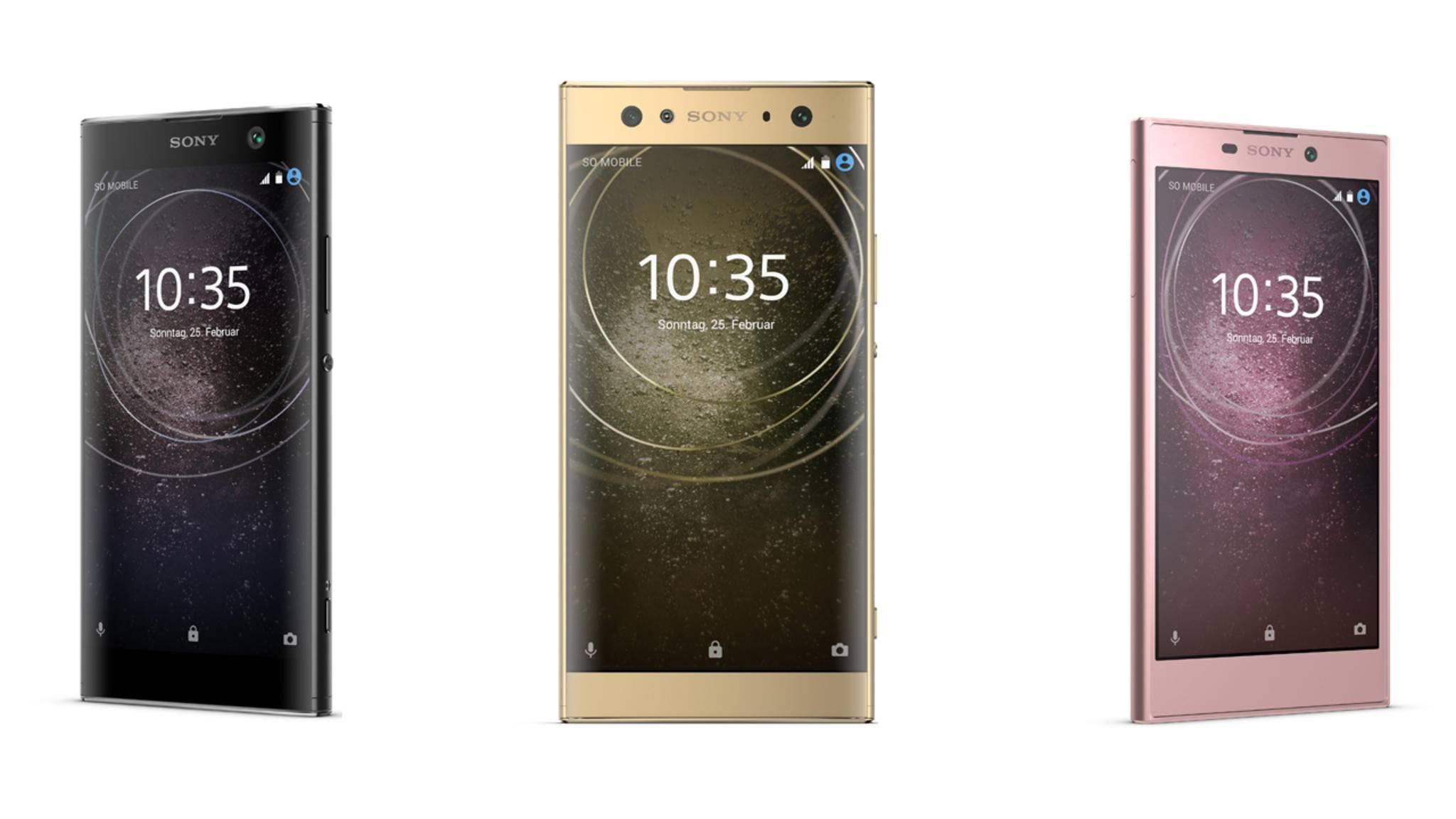 Sony hat auf der CES 2018 das Xperia XA2 (links), das Xperia XA2 Ultra (Mitte) und das Xperia L2 (rechts) vorgestellt.
