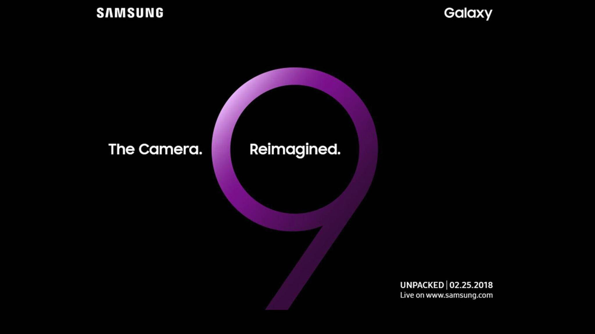 Das Galaxy S9 wird kurz vor dem Start des MWC 2018 gezeigt.