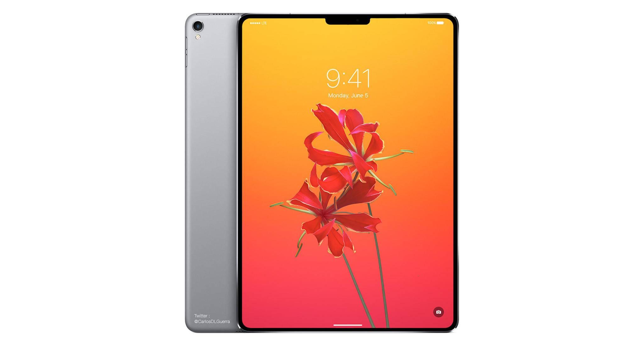 So könnte das neue iPad Pro aussehen: Kaum Displayränder und Face ID statt Touch ID.