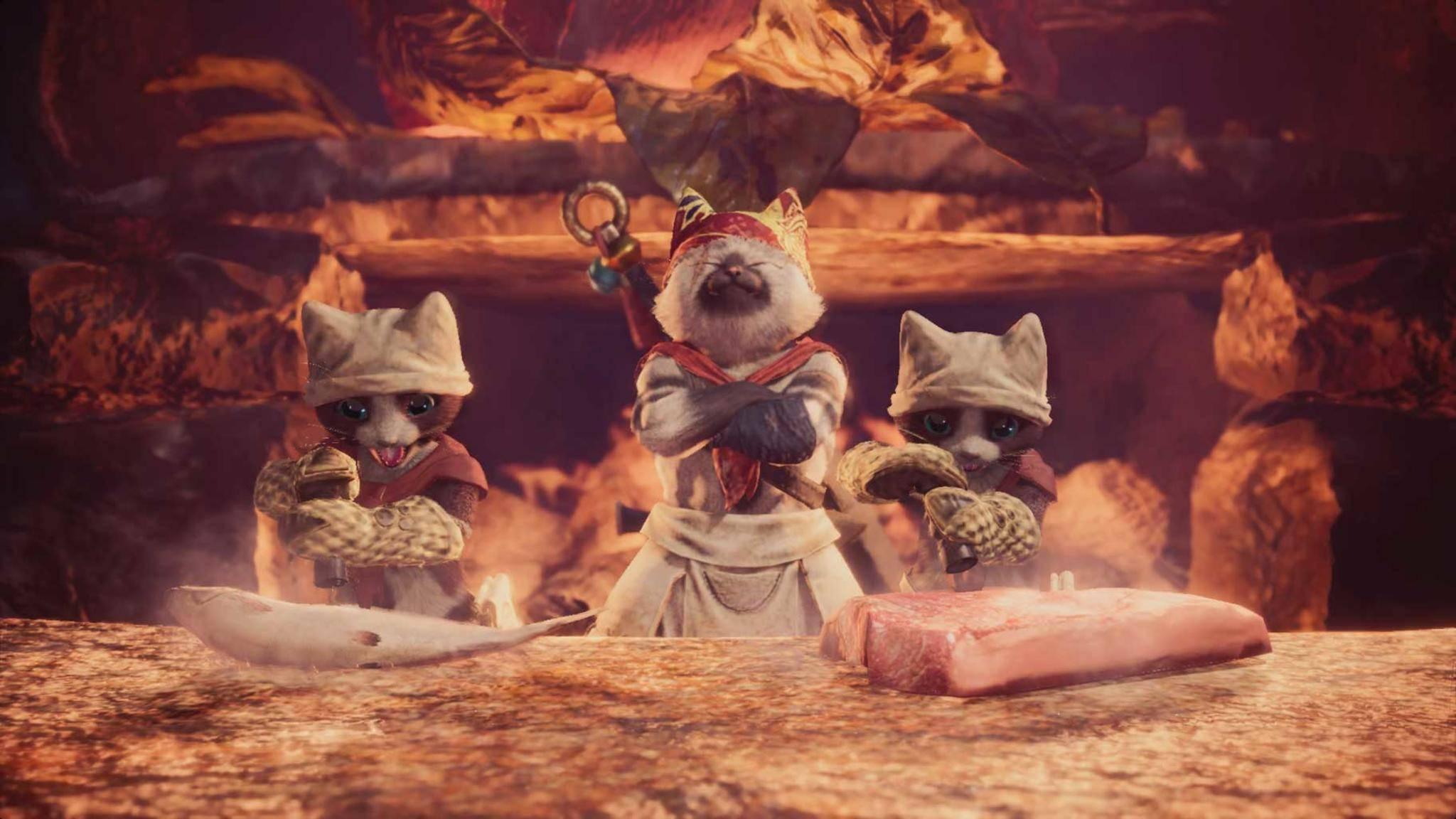 """In """"Monster Hunter: World""""übernehmen Katzen das Kochen. Nun eifern ihnen die Menschen nach."""