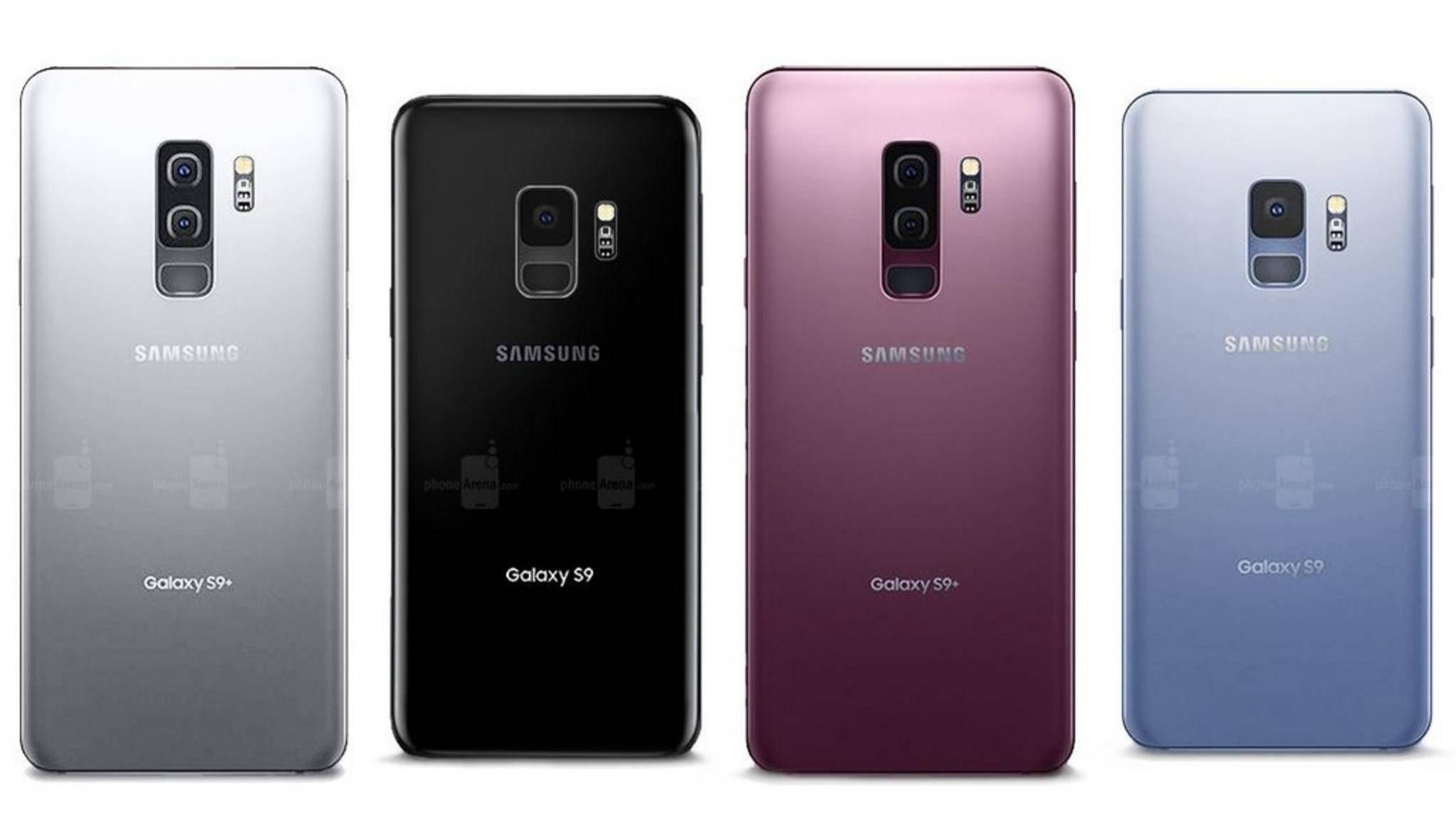 So könnten die verschiedenen Farbkombinationen von Galaxy S9 und Galaxy S9 Plus aussehen.