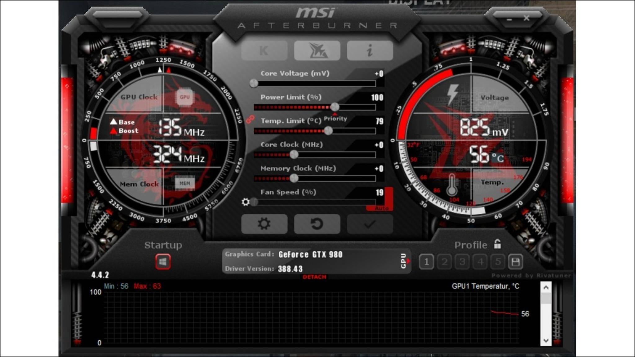 Mit MSI Afterburner lässt sich die Grafikkarte bequem übertakten.