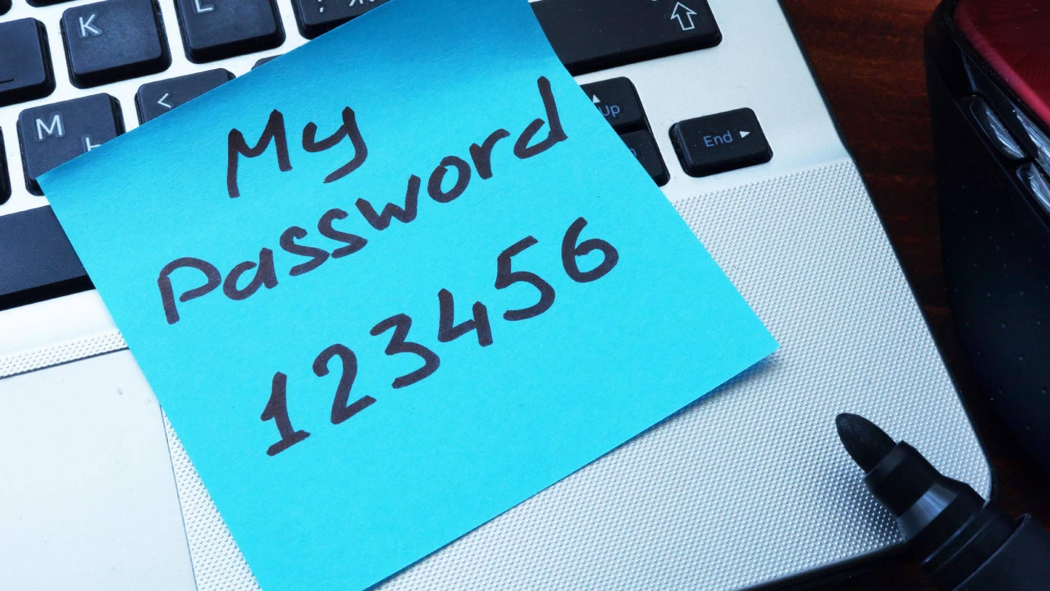Etwas kreativer solltest Du bei der Passwortwahl schon sein. Und es bitte nicht auf einem Post-it an den PC kleben...