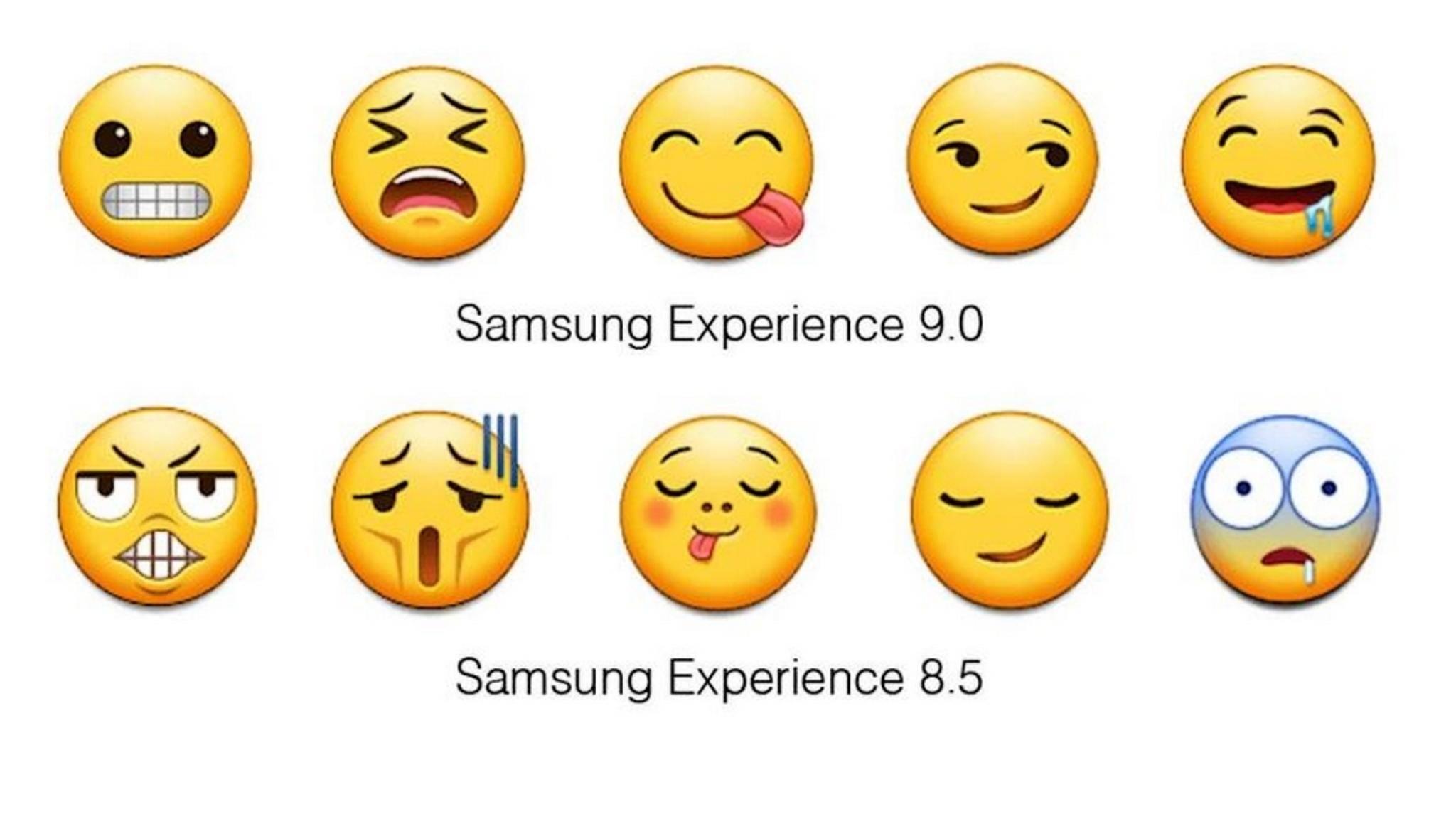 Oben die neuen und unten die alten Samsung-Emojis.