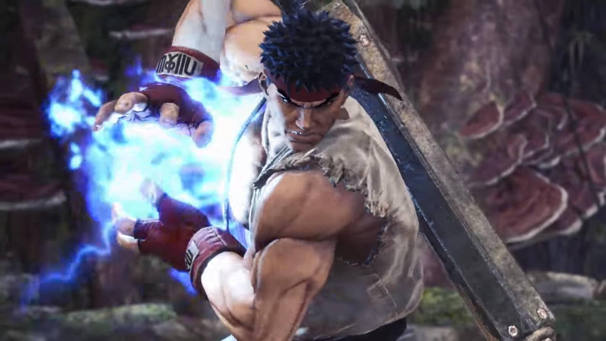 """Ryu feuert seine Hadouken-Attacken ab sofort in """"Monster Hunter: World""""."""