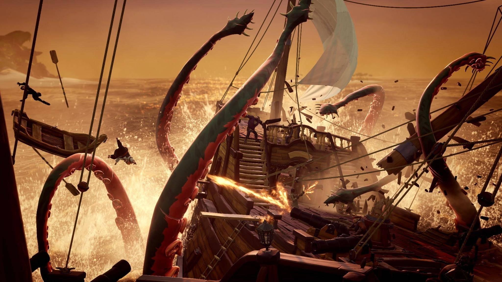 """Der Kraken lauert in der Tiefe von """"Sea of Thieves""""."""