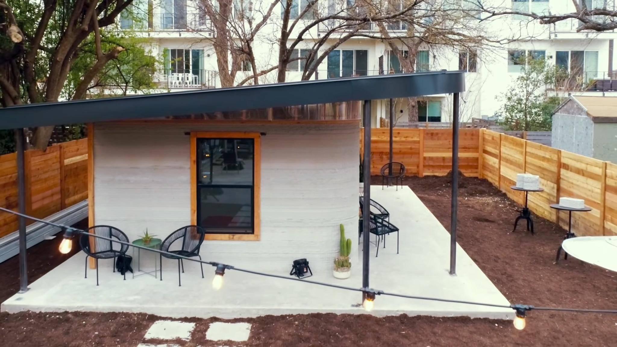 Dieses von einem 3D Drucker konstruierte Haus steht in Austin, Texas.