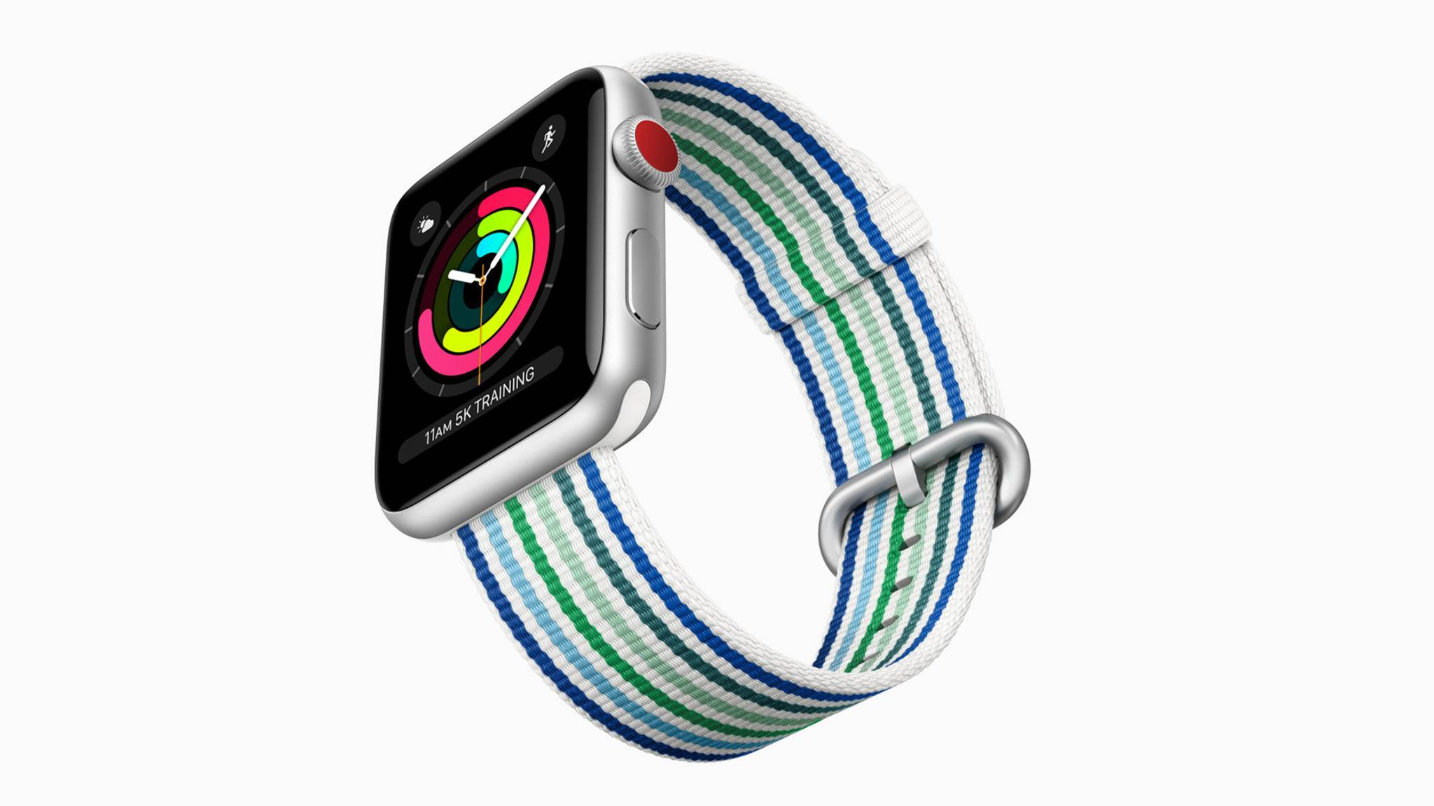 Streifen am Apple-Watch-Armband bringen den Frühling ans Handgelenk.