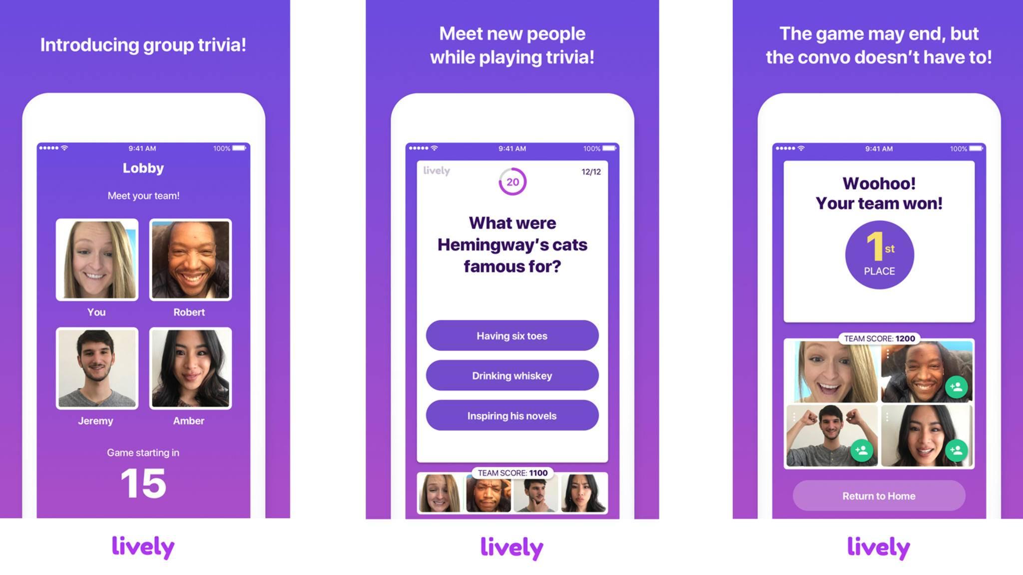 In der Neuauflage der Dating-App Lively können sich Nutzer in Teams von zwei bis vier Spielern lustigen Trivia-Aufgaben stellen.