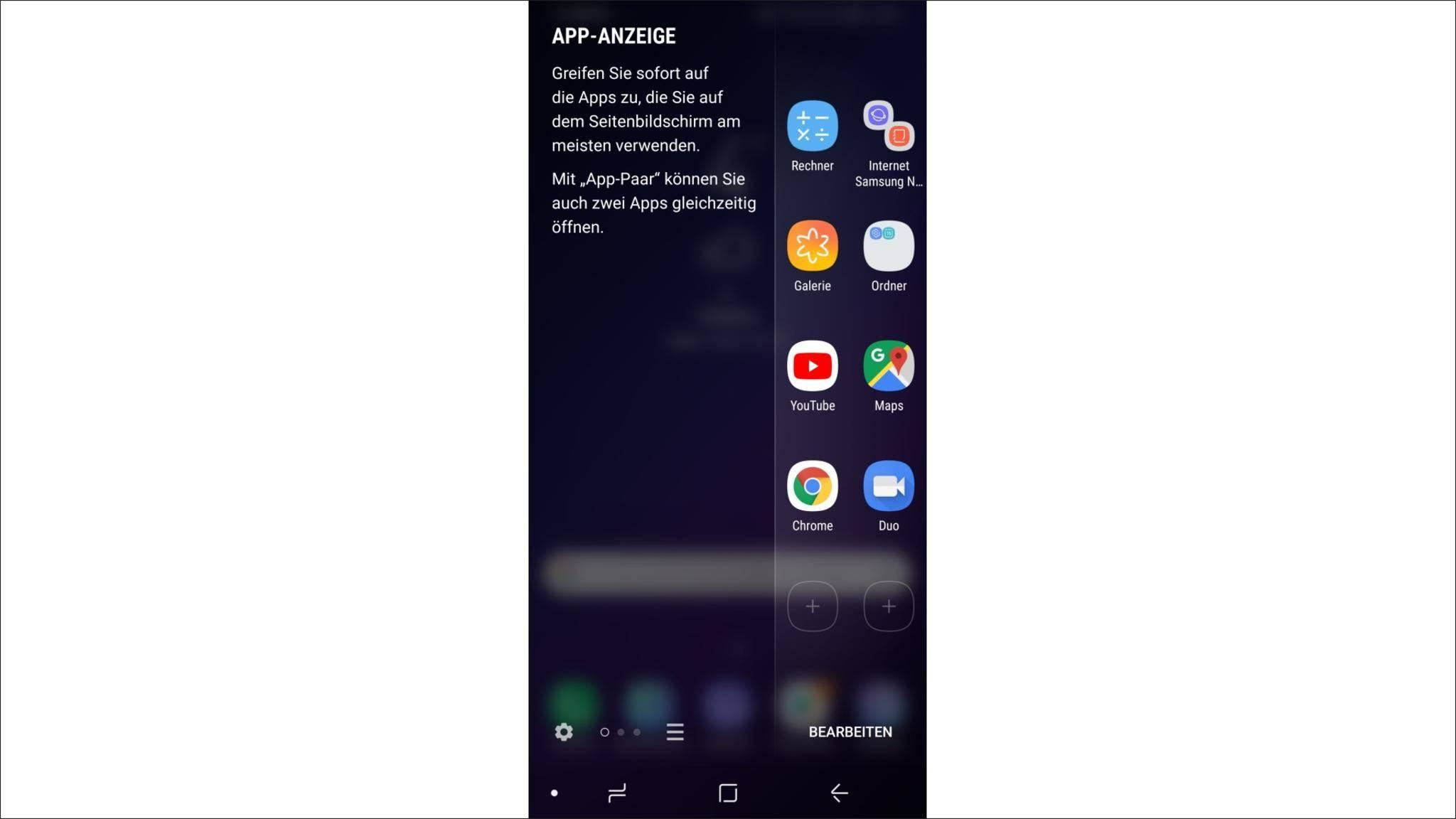 Der Seitenbildschirm lässt sich für den Schnellzugriff auf Apps nutzen.