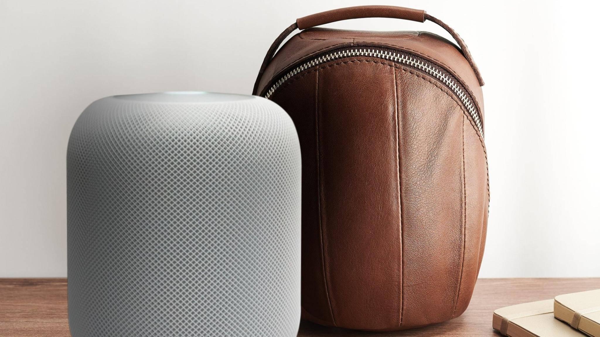 Der Apple HomePod lässt sich nun in diesem Ledercase unterbringen.