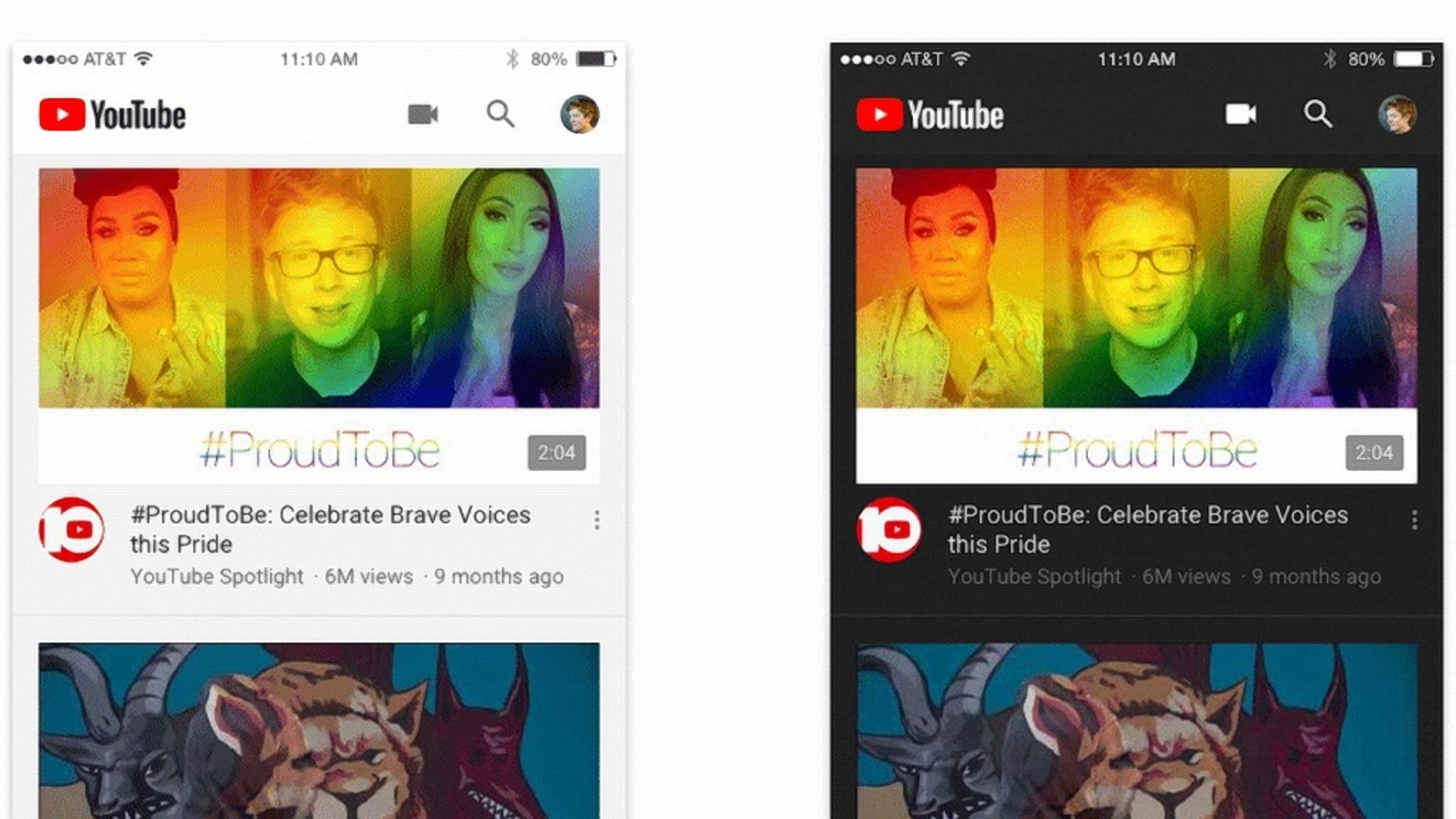 Der Dark Mode von YouTube (rechts) hat die ersten Android-Nutzer erreicht.