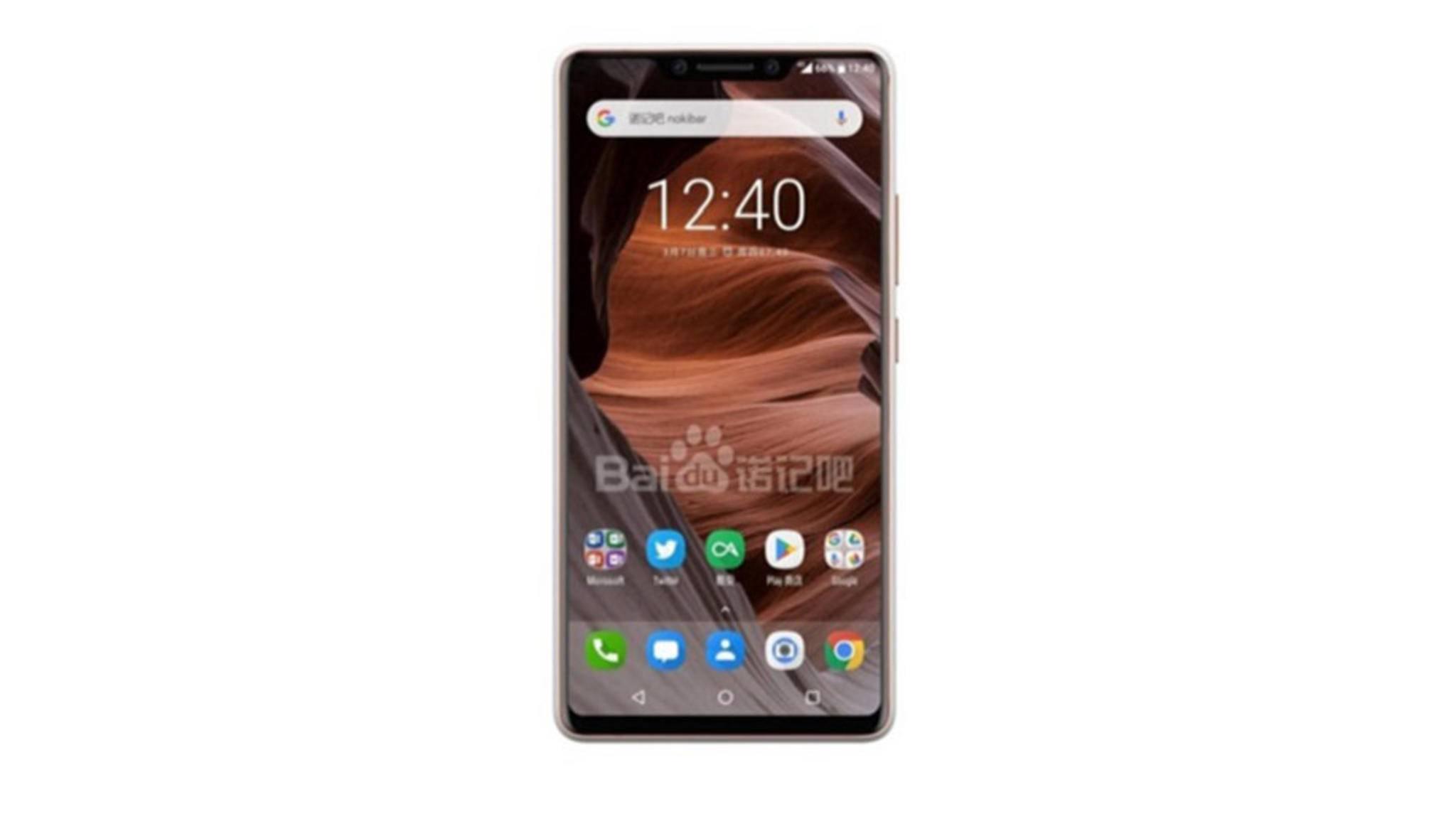 Randlos-Design mit DIsplay-Kerbe: So könnte das Nokia 9 aussehen.