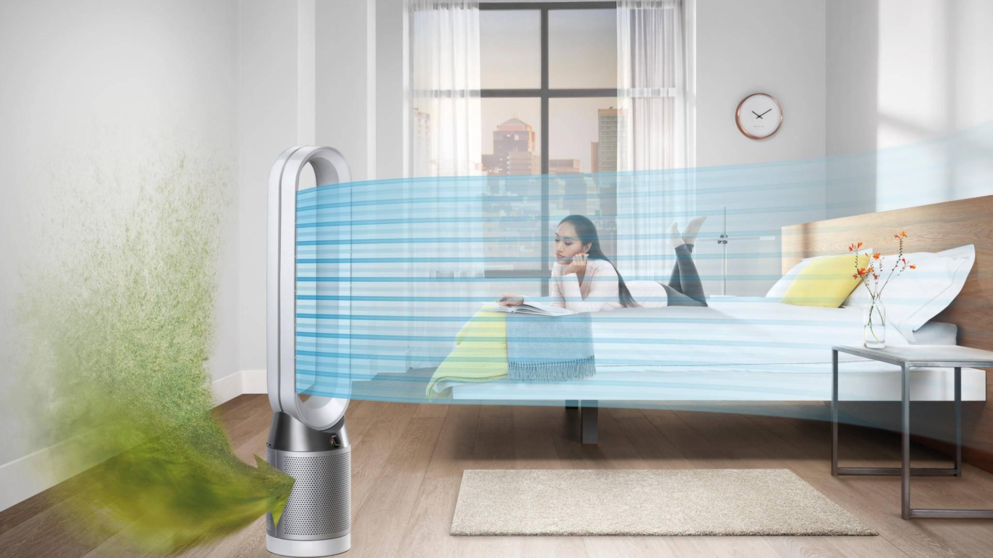 Der Dyson Pure Cool soll die frische Luft im Gegensatz zum Vorgänger im ganze Raum verteilen.